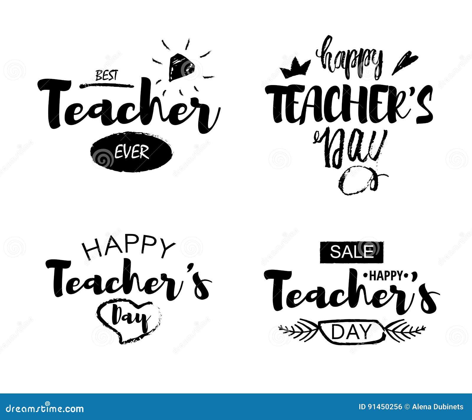 Lycklig bokstäver för hälsningen för dagen för lärare` s citerar på en vit bakgrund Texten som ska skrivas ut i trycket, shoppar