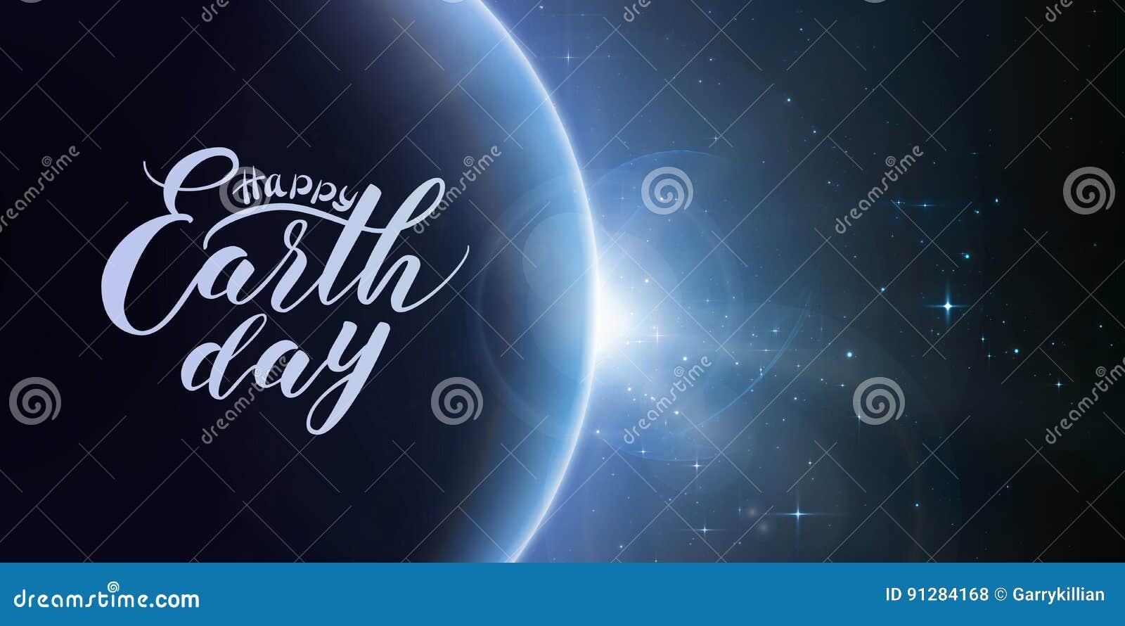 Lycklig bokstäver för jorddag på abstrakt vektorblåttbakgrund med planeten och förmörkelse av solen