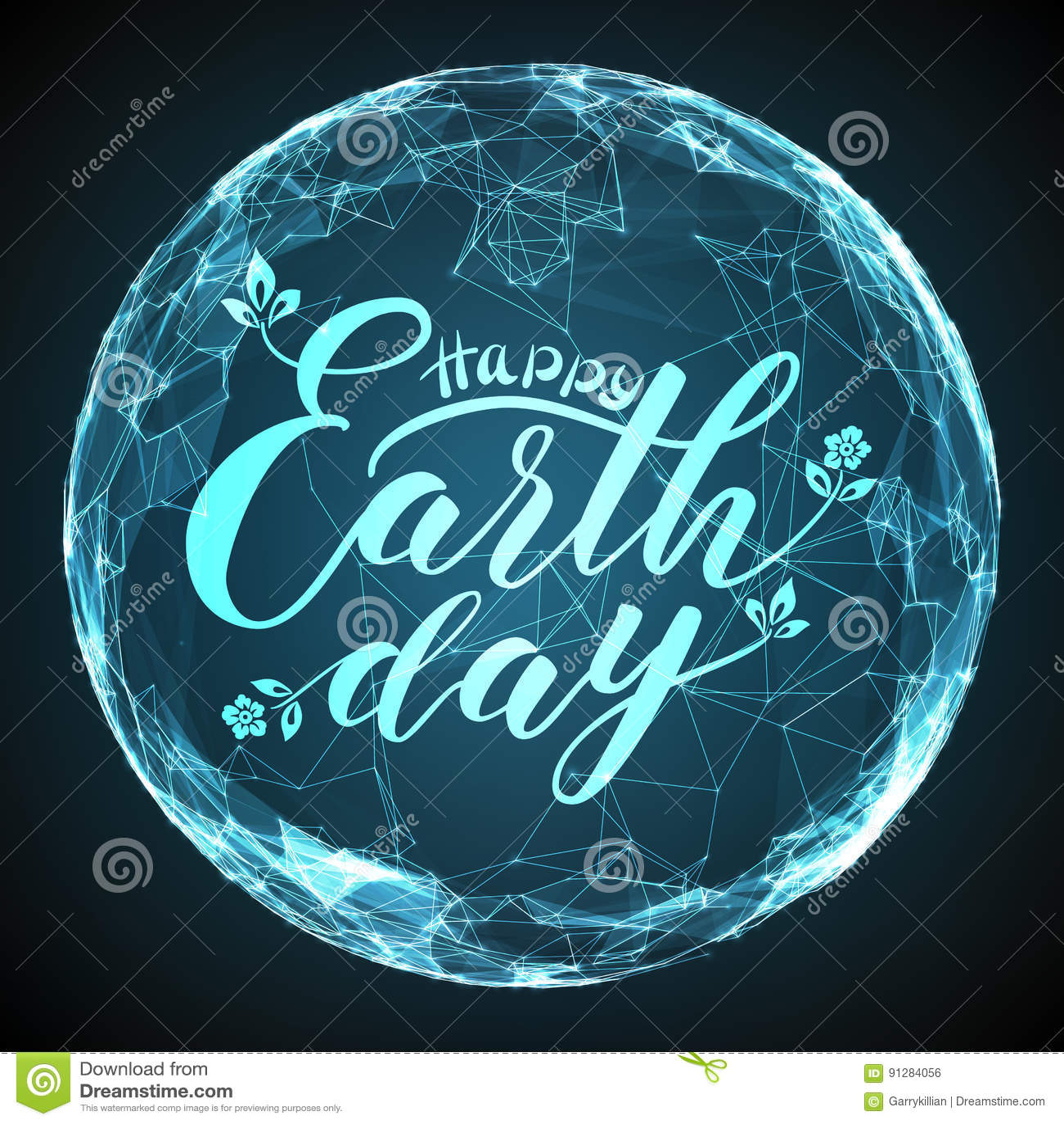 Lycklig bokstäver för jorddag på abstrakt vektoringreppssfär Digital jordklot med elegant kalligrafi