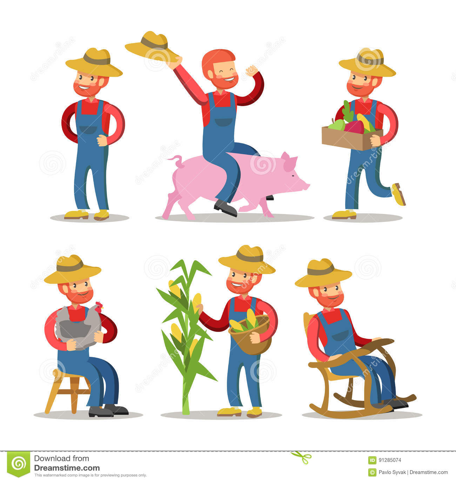 Lycklig bonde Cartoon Grabb med korgen av grönsaker