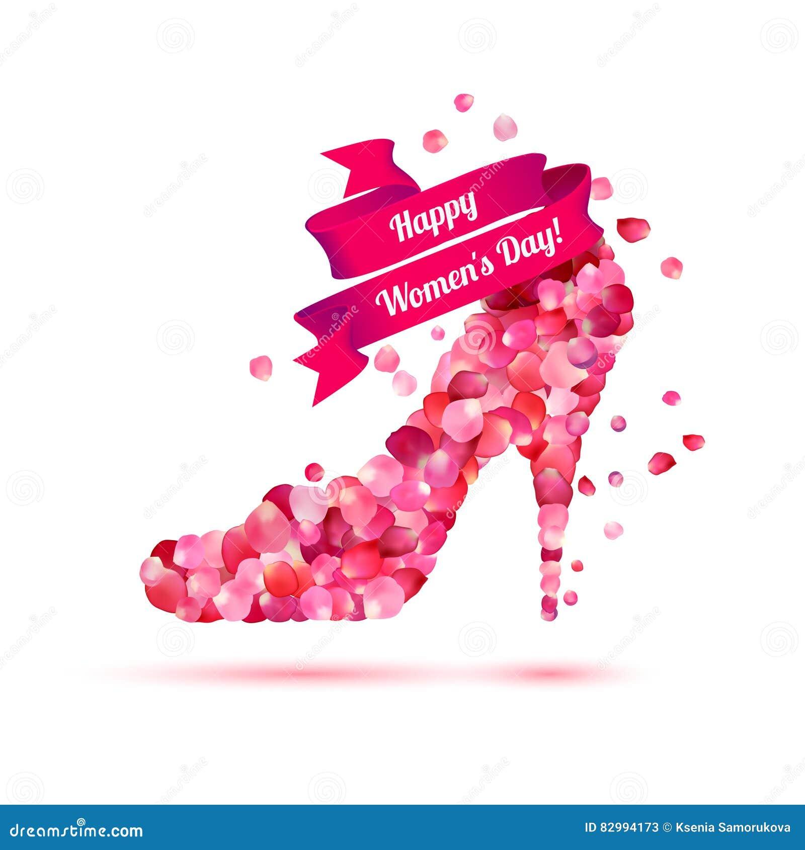 Lycklig dag för kvinna` s! 8 ferie för mars Sko för höga häl