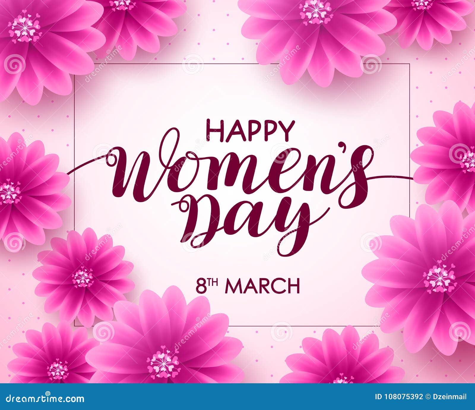 Lycklig design för bakgrund för vektor för dag för kvinna` s med text för marsch 8