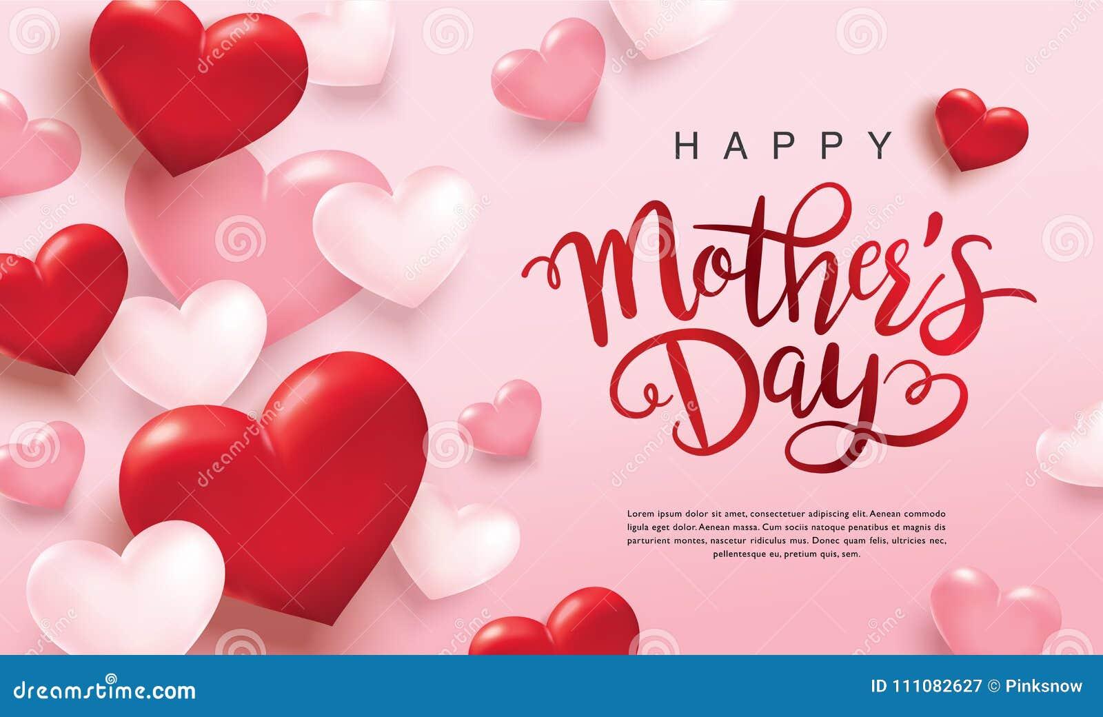 Lycklig design för hälsning för dag för moder` s