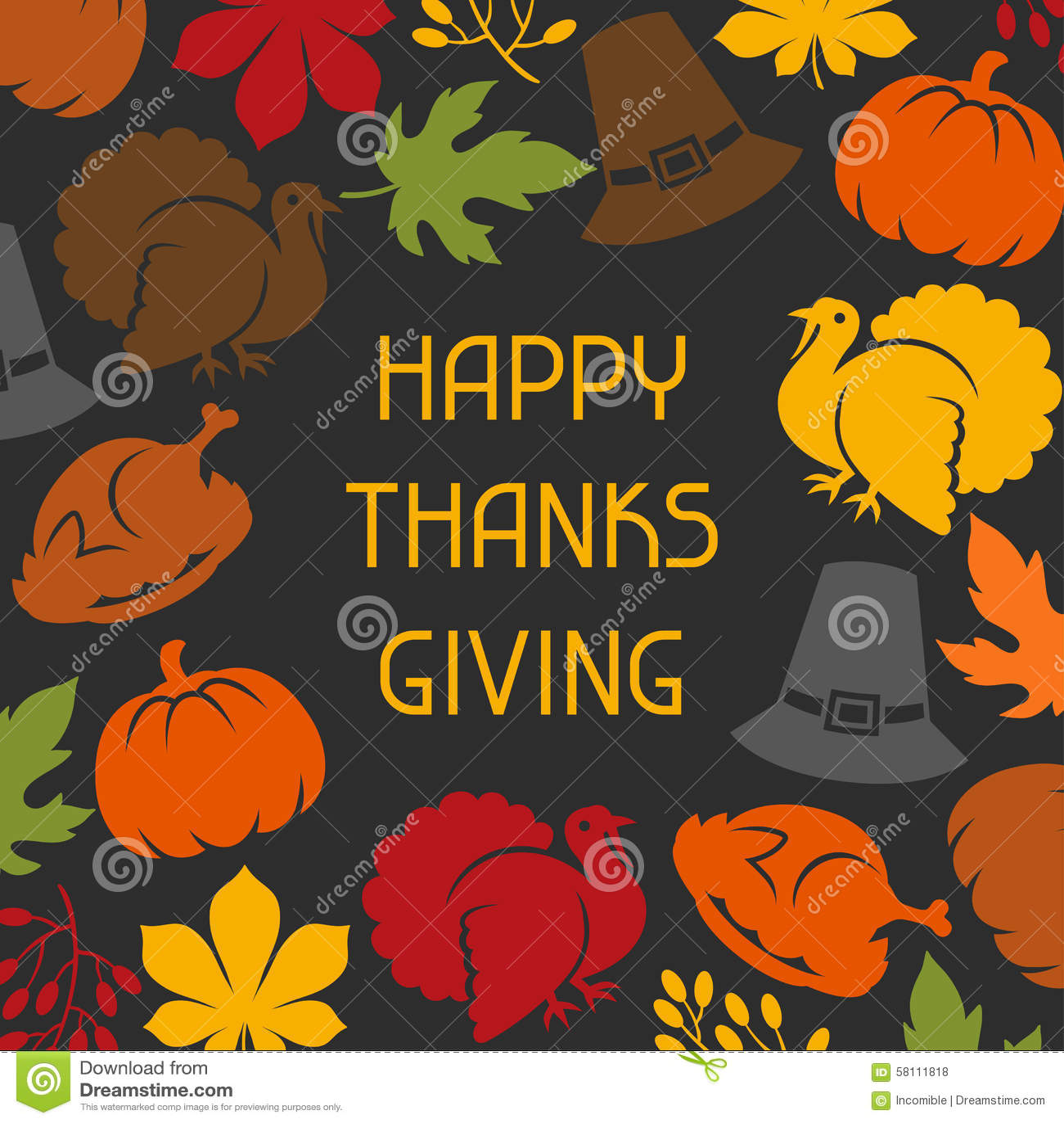 Lycklig design för tacksägelsedagkort med ferie
