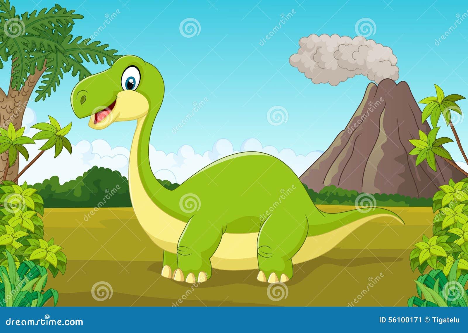Lycklig dinosaurie för tecknad film i djungeln