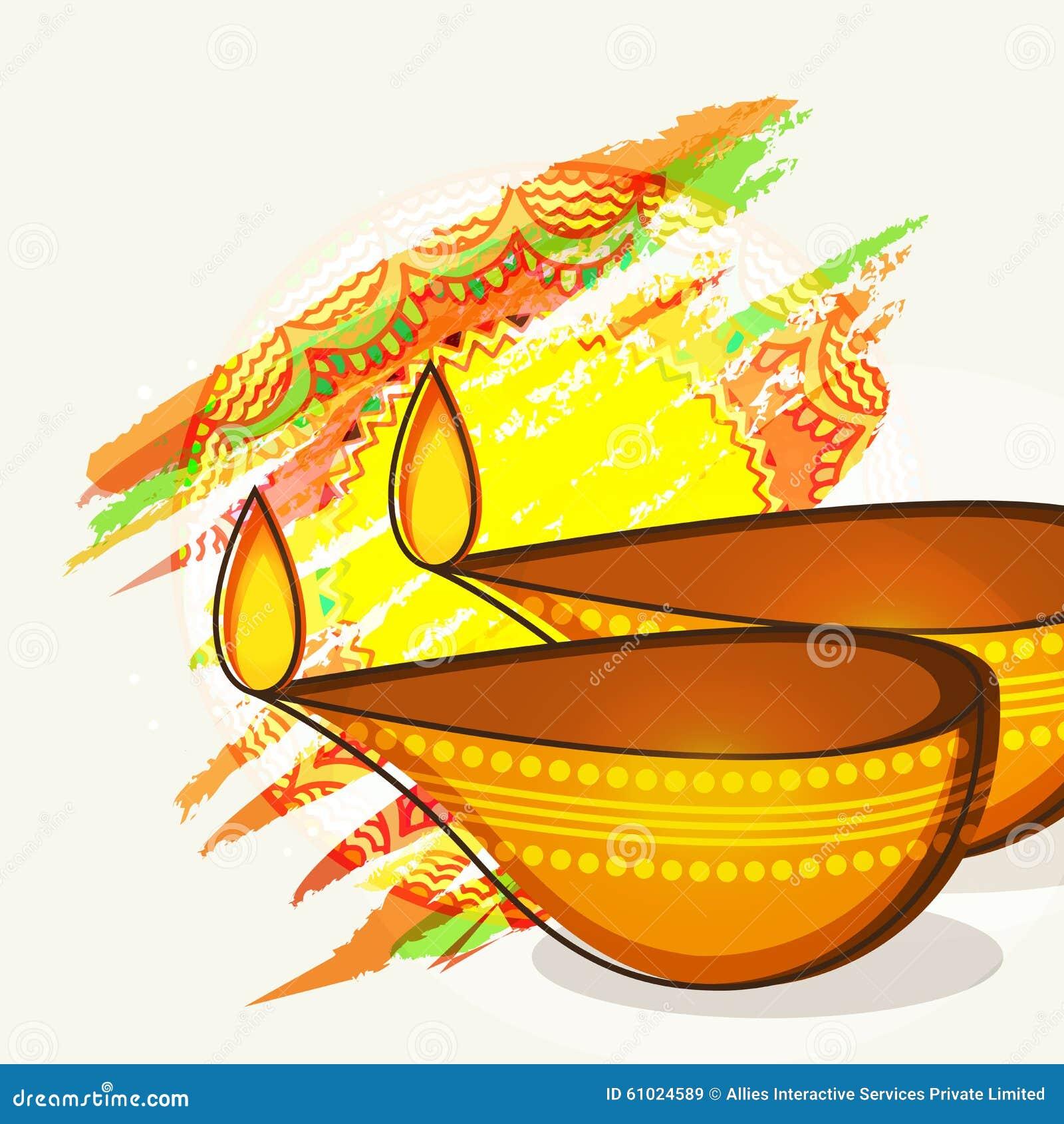 Lycklig Diwali beröm med upplysta tända lampor