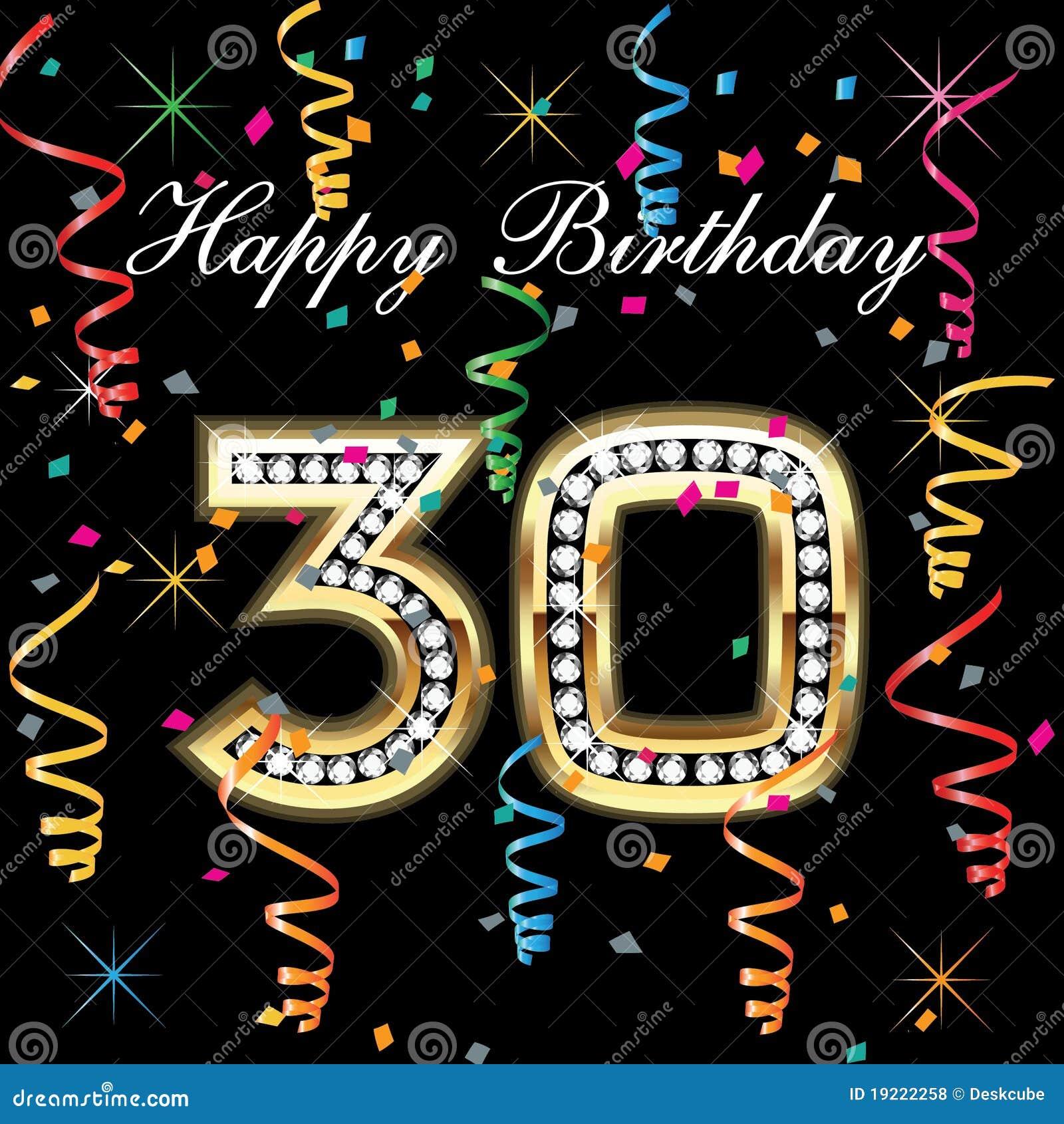 30 födelsedag Lycklig födelsedag 30 vektor illustrationer. Illustration av  30 födelsedag