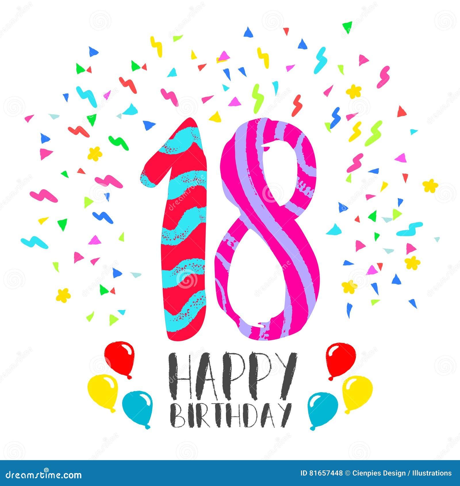 18 år födelsedag Lycklig Födelsedag För Kort För 18 år Partiinbjudan Vektor  18 år födelsedag