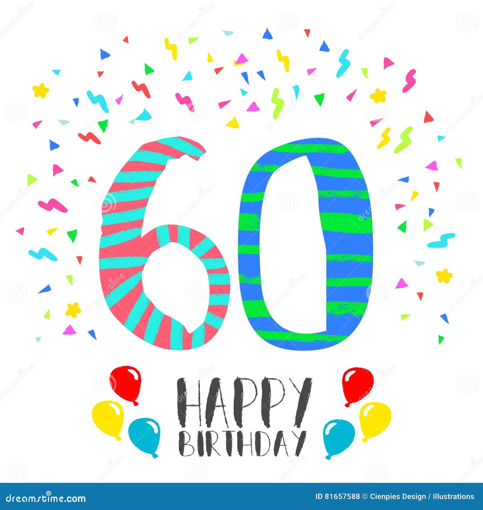 födelsedag 60 år Lycklig Födelsedag För Kort För 60 år Partiinbjudan Vektor  födelsedag 60 år