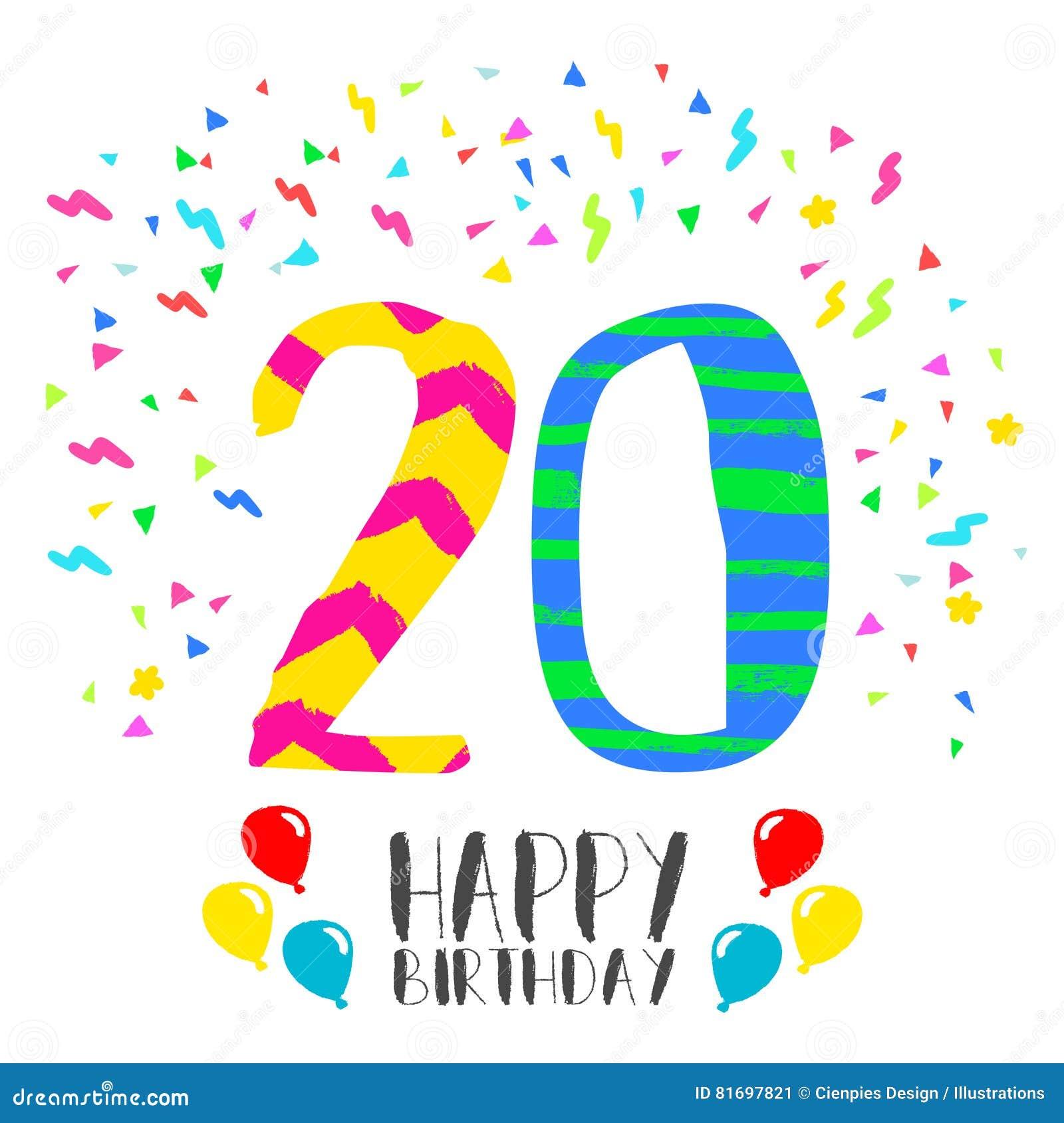20 års kort Lycklig Födelsedag För Kort För 20 år Partiinbjudan Vektor  20 års kort