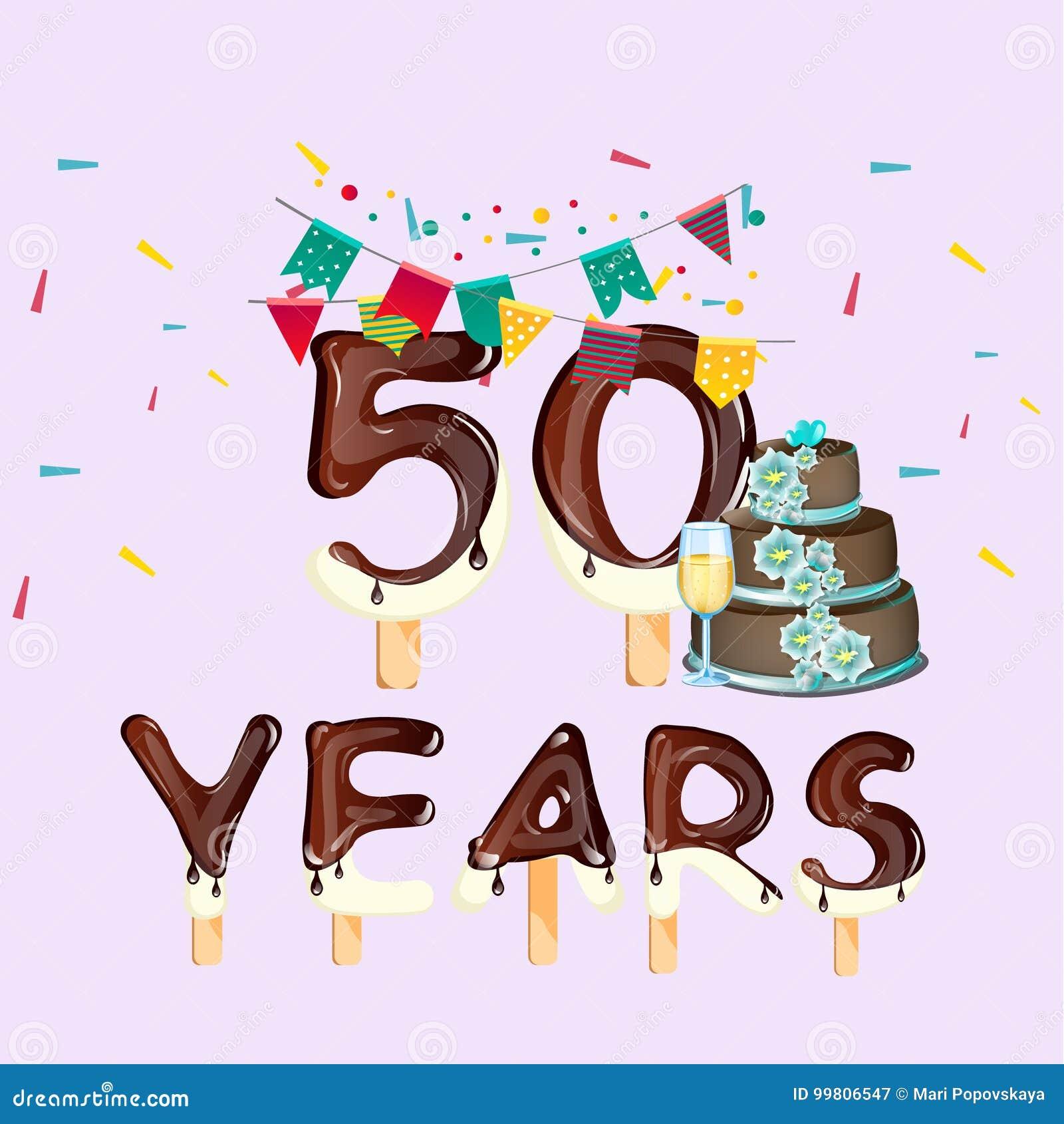 femtio år Lycklig Födelsedag Femtio 50 år Kort Vektor Illustrationer  femtio år