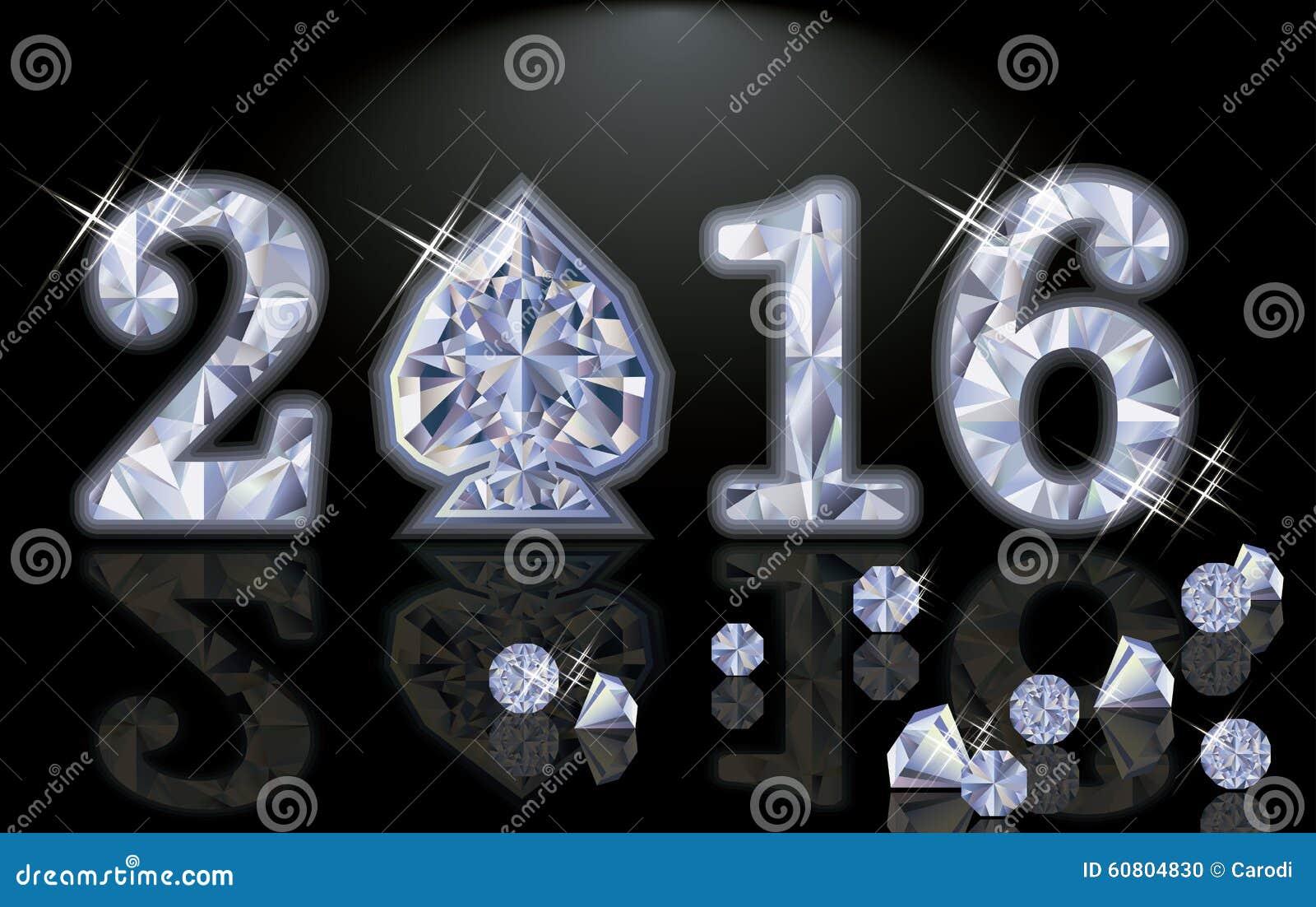 Lycklig för diamantpoker för nytt år 2016 vektor för spade