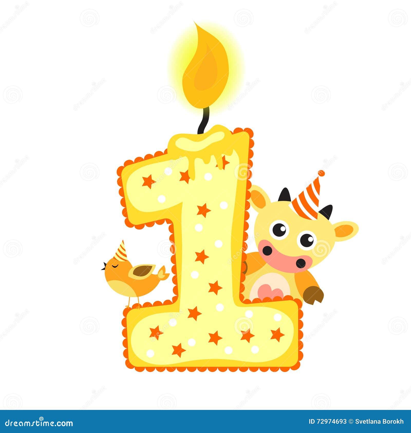 1 års födelsedag Lycklig Första Födelsedagstearinljus Och Djur På Vit, Födelsedag 1  1 års födelsedag