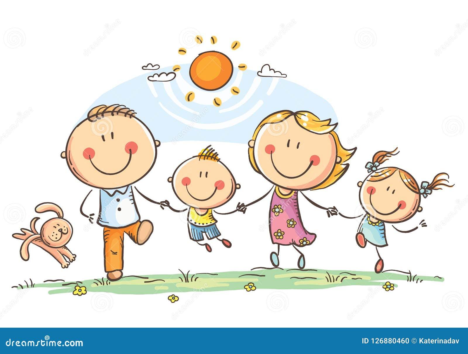 Lycklig familj med två barn som har roligt rinnande utomhus