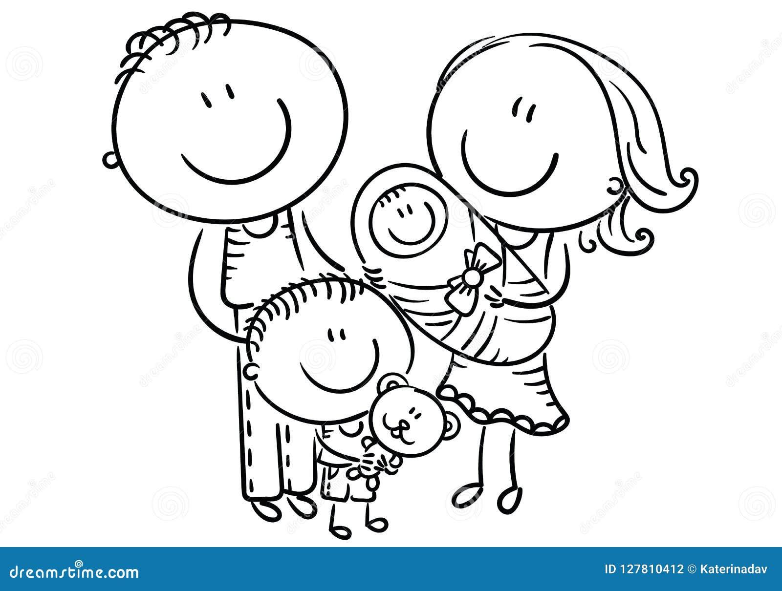 Lycklig familj med två barn, tecknad filmdiagram, översikt