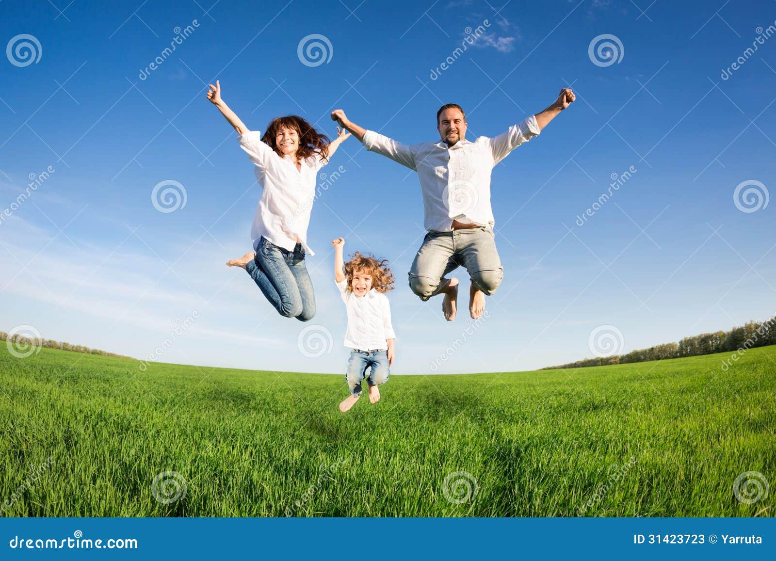 Lycklig familjbanhoppning