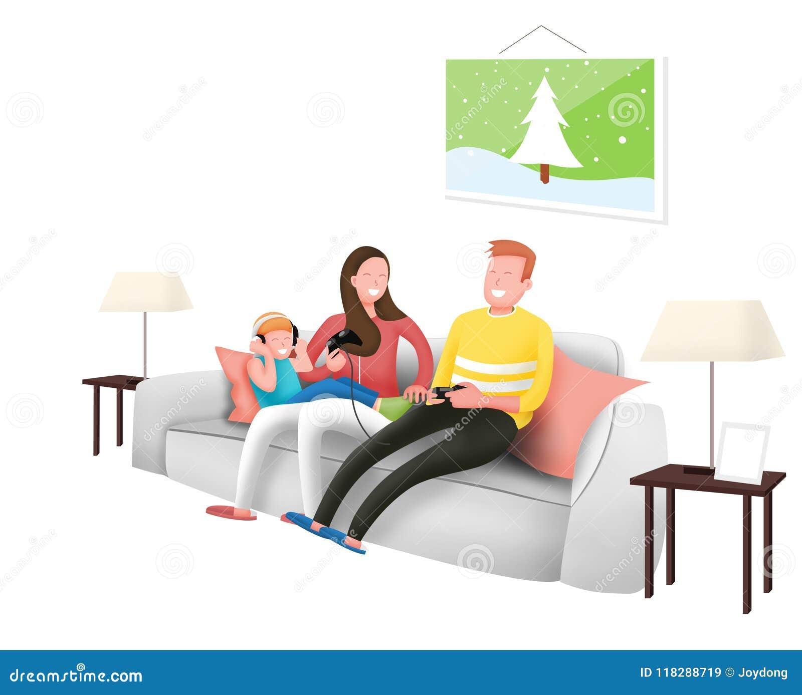 Lycklig familjlek som en elkraft turnerar tillsammans och lyssnar till musiken i hem