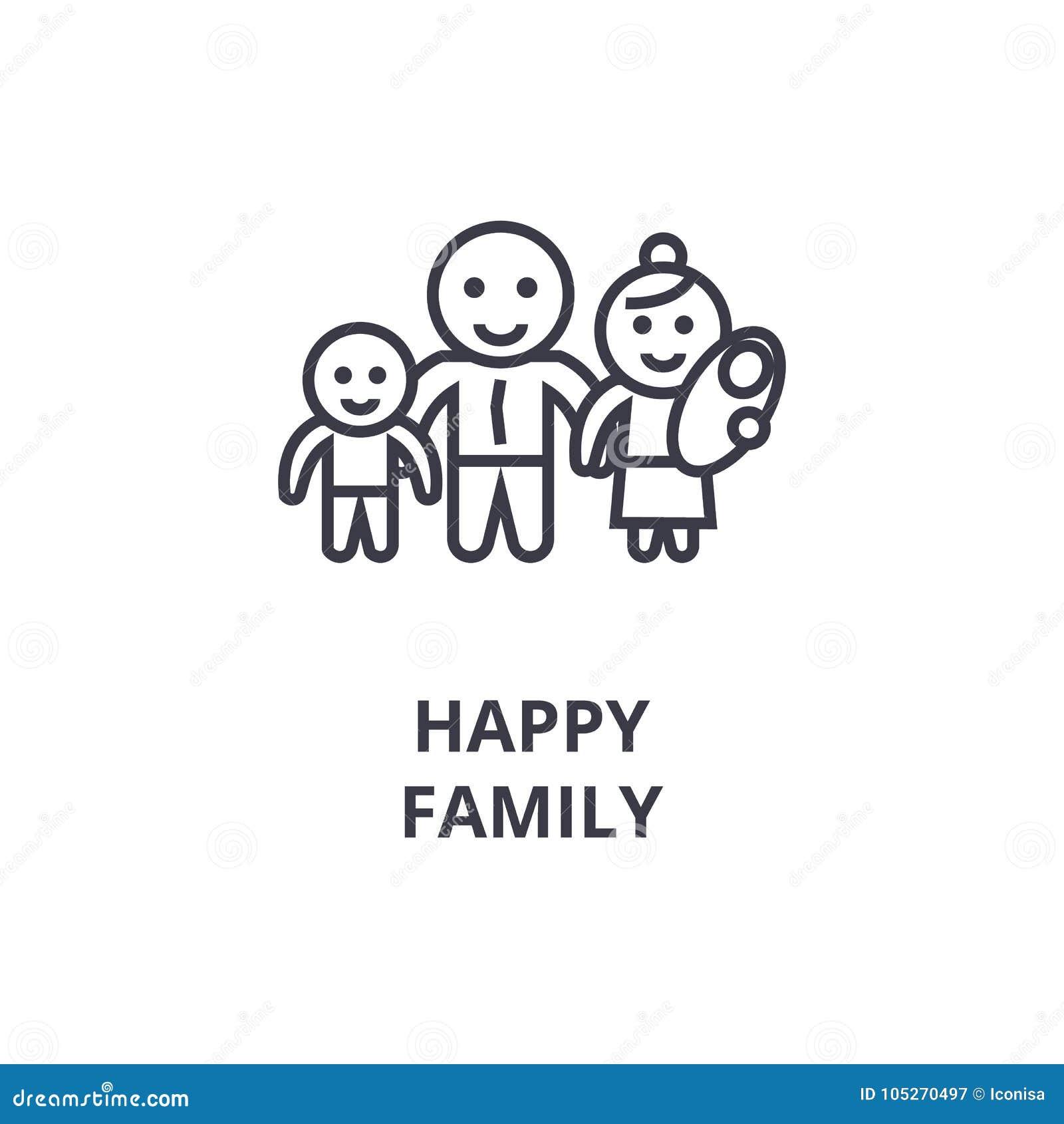 Lycklig familjlinje symbol, översiktstecken, linjärt symbol, vektor, plan illustration