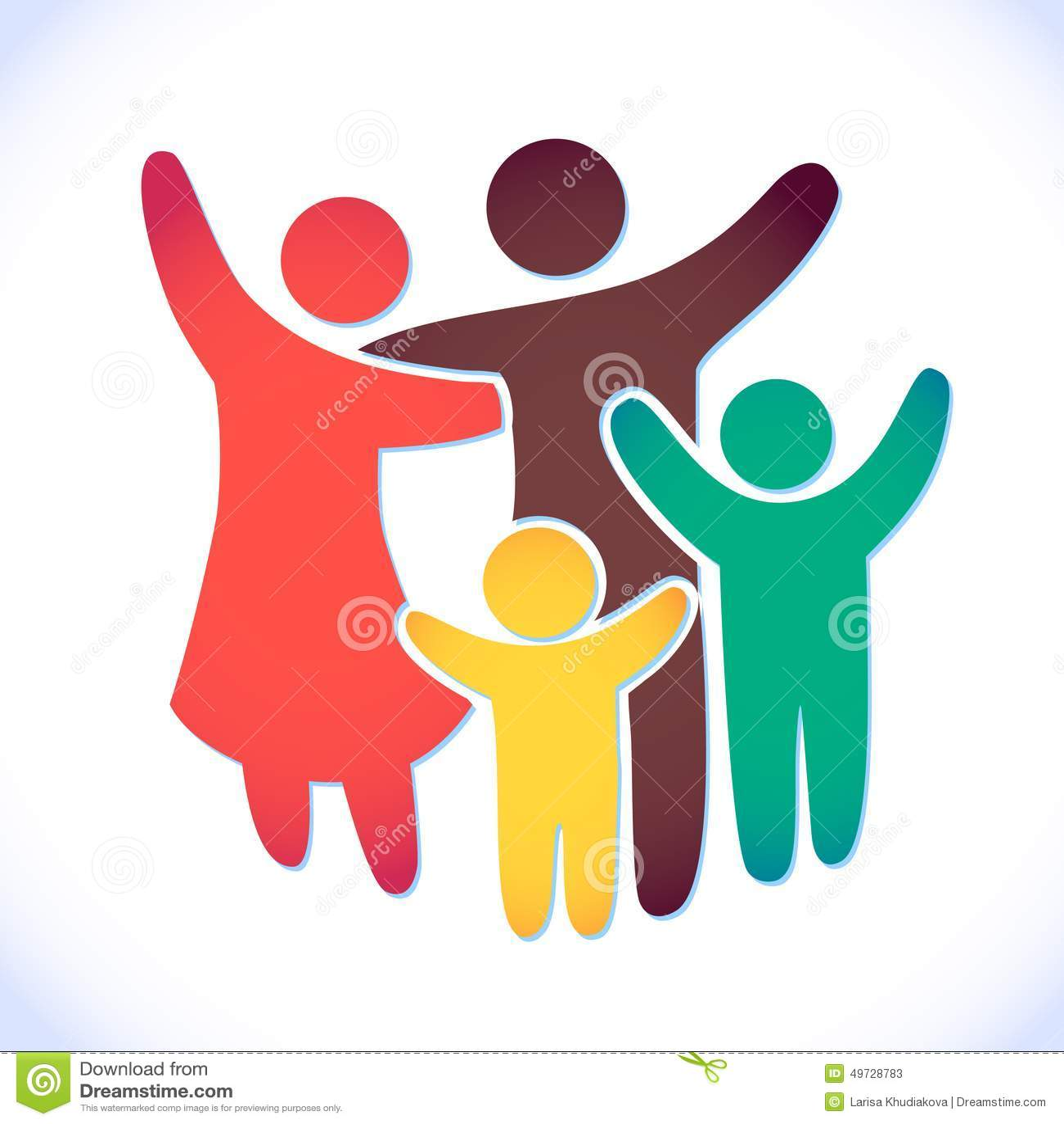 Lycklig familjsymbol som är mångfärgad i enkla diagram Två barn, farsan och mamman står tillsammans Vektorn kan användas som logo