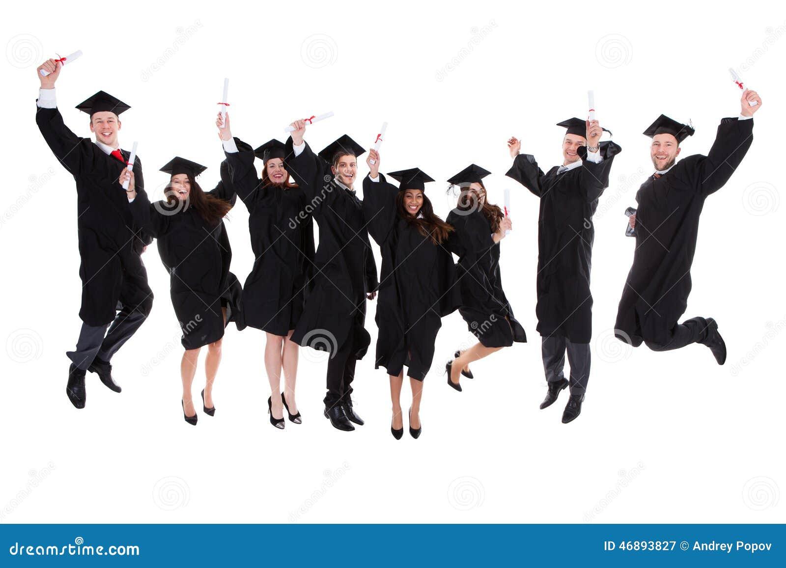 Lycklig fröjdgrupp av multietniska kandidater