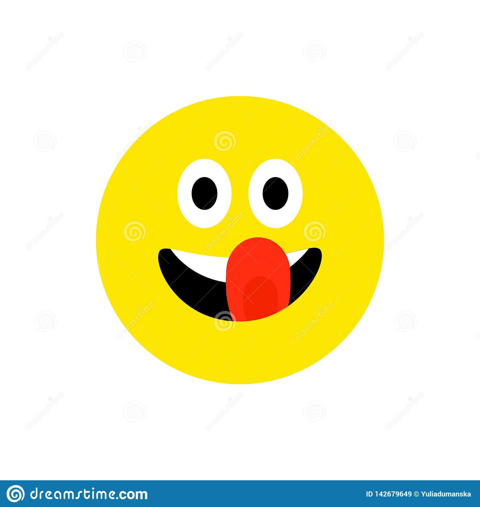 Lycklig framsida som ler emoji med den ?ppna munnen Plan stil f?r roligt leende Gulligt Emoticonsymbol Smiley skrattsymbol F?r mo