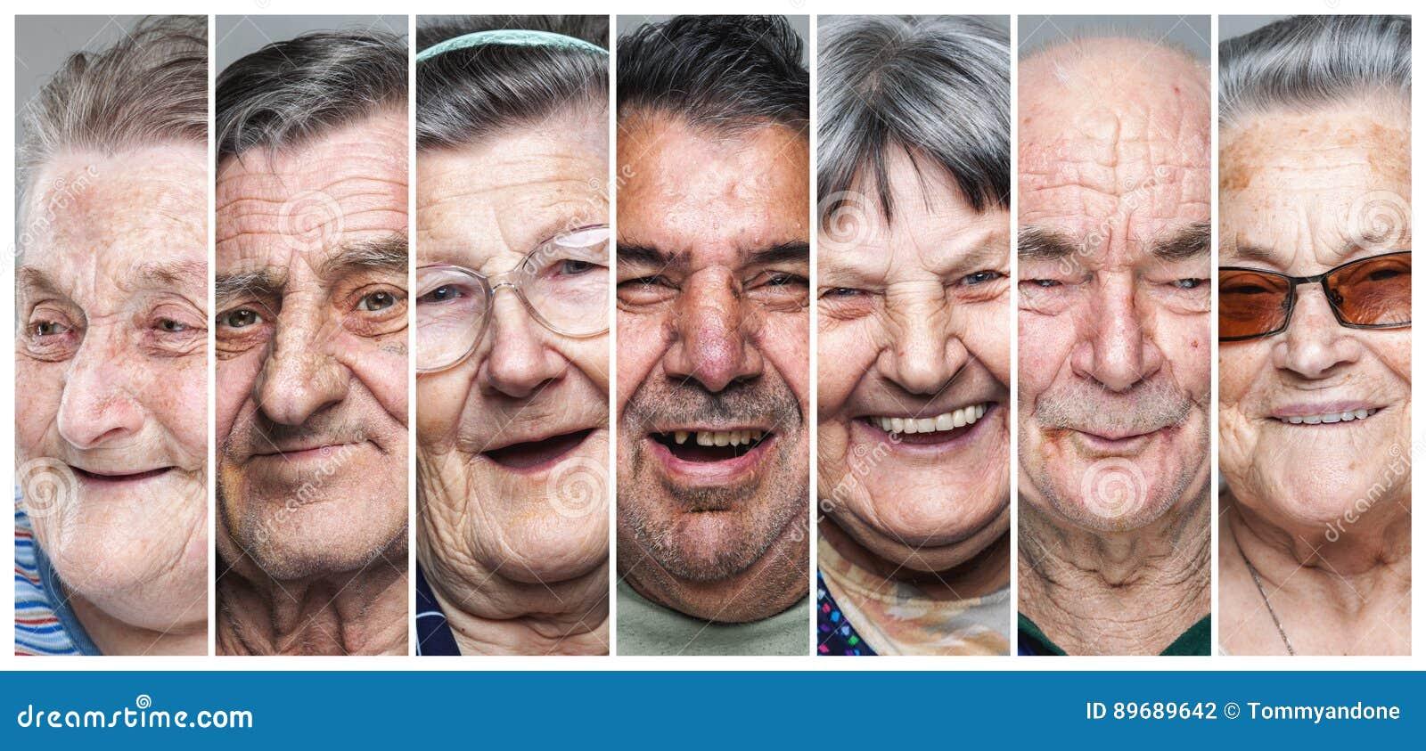 Lycklig gamla människor Collage av förtjust och att le äldre män och kvinnor