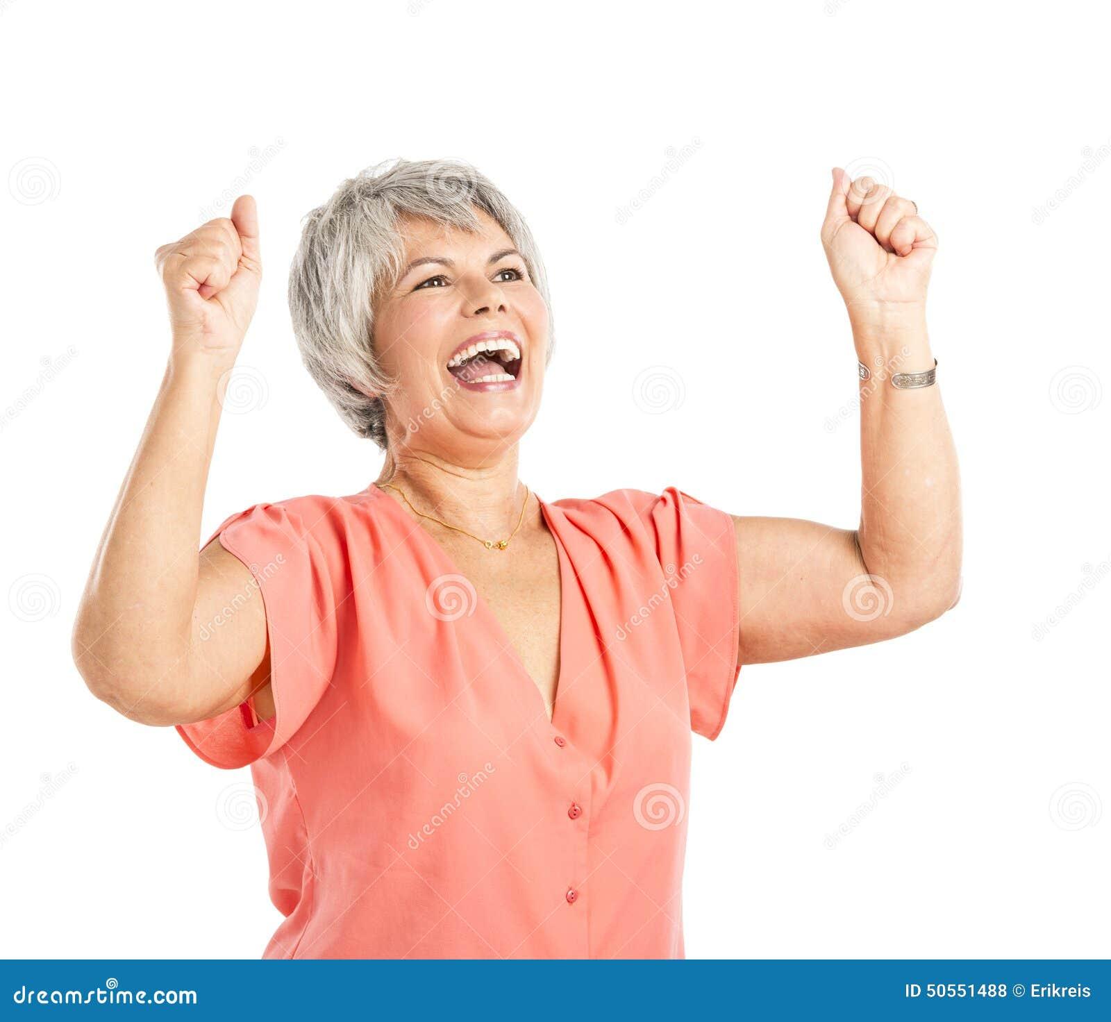 Lycklig gammal kvinna