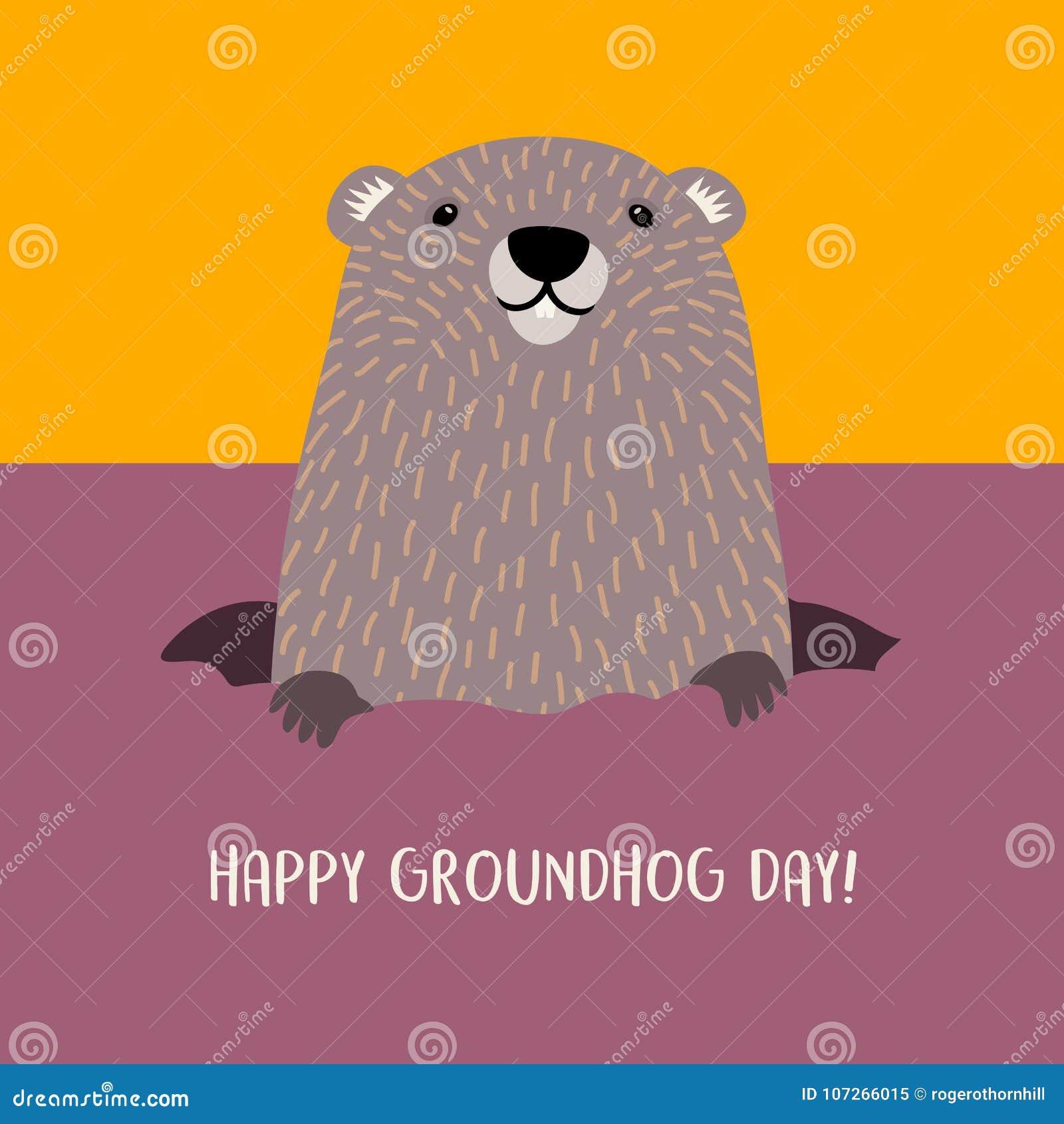 Lycklig groundhog för Groundhog dag som dyker upp från hans håla