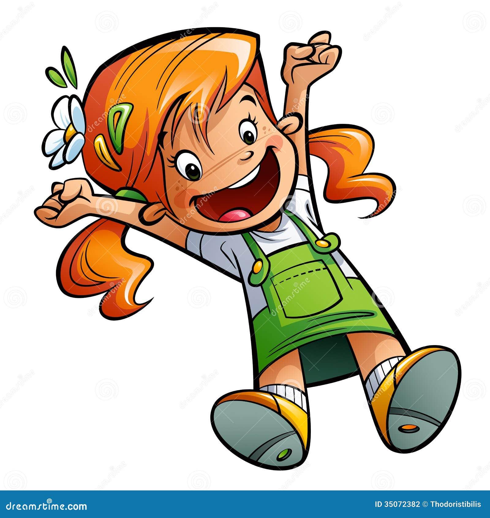 Lycklig gullig tecknad filmflicka som hoppar sträcka lyckligt händer och benet