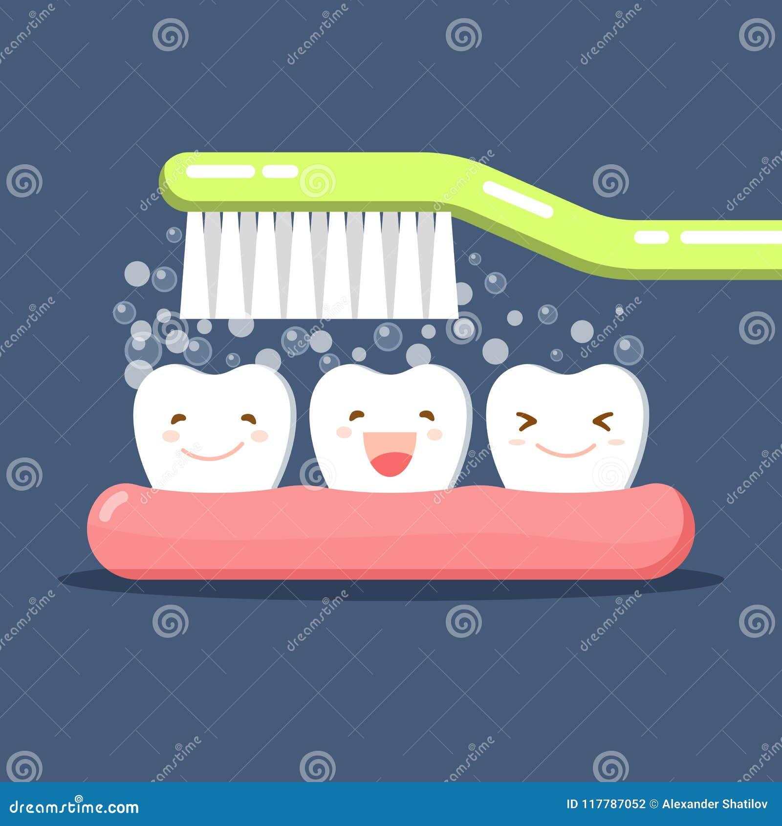 Lycklig gullig tecknad filmtand och tandborste brushing teeth Tandkrämbubblaskum Muntlig hygien Tand- ungeomsorg plant