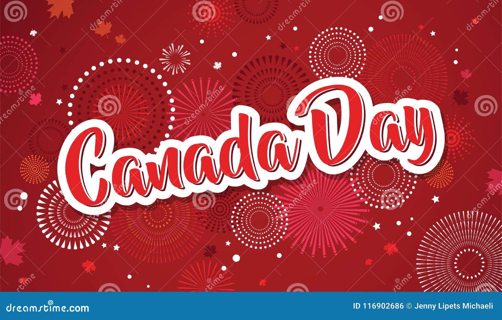 Lycklig Kanada dagaffisch 1st juli Kort för vektorillustrationhälsning Kanada lönnlöv på vit bakgrund