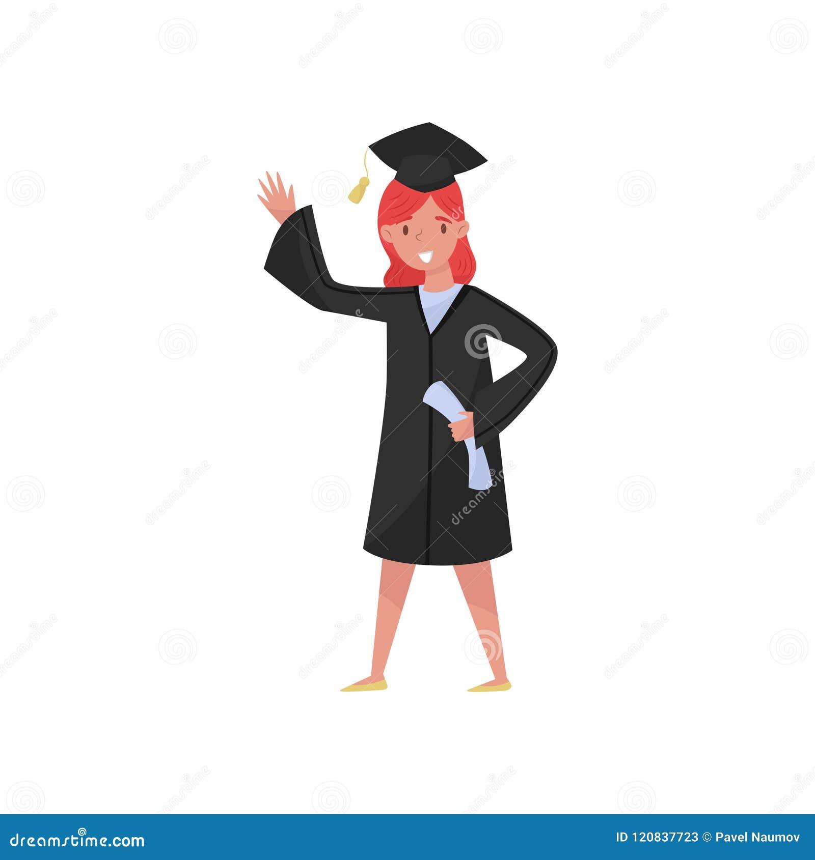 Lycklig kvinnligkandidat som ler avläggande av examenflickastudenten i kappan och locket som vinkar hennes handvektorillustration