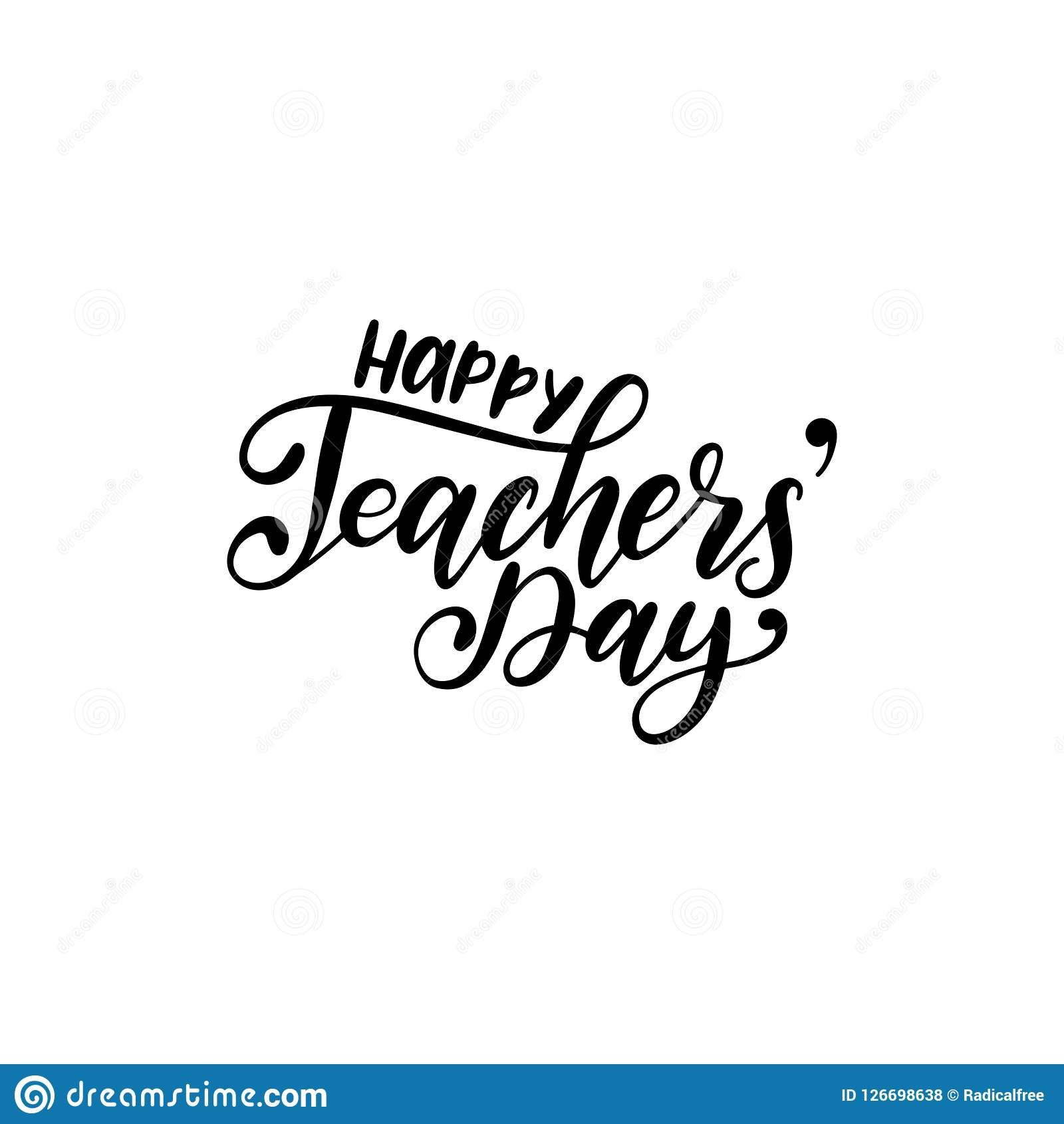 Lycklig läraredagaffisch, kort Vektorhandbokstäver på vit bakgrund Feriedesignbegrepp