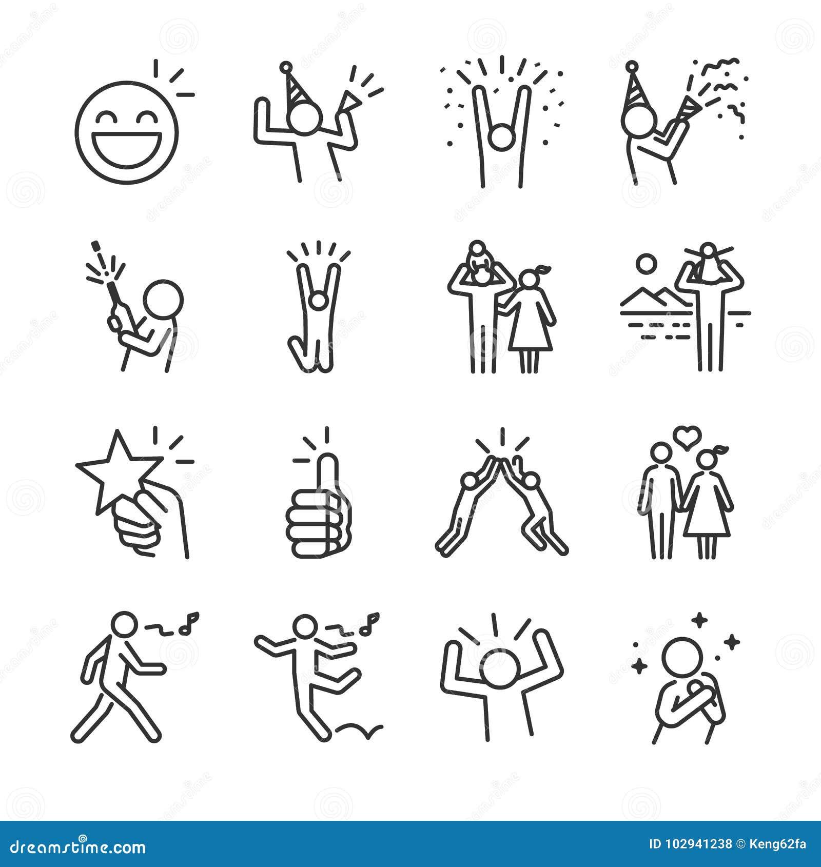 Lycklig linje symbolsuppsättning Inklusive tycker om festar firar symbolerna som gyckel, det bra lynnet, framgång och mer