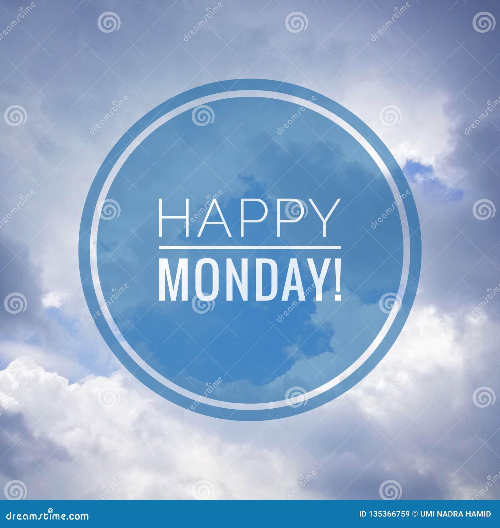 Lycklig måndag hälsning på naturbakgrund