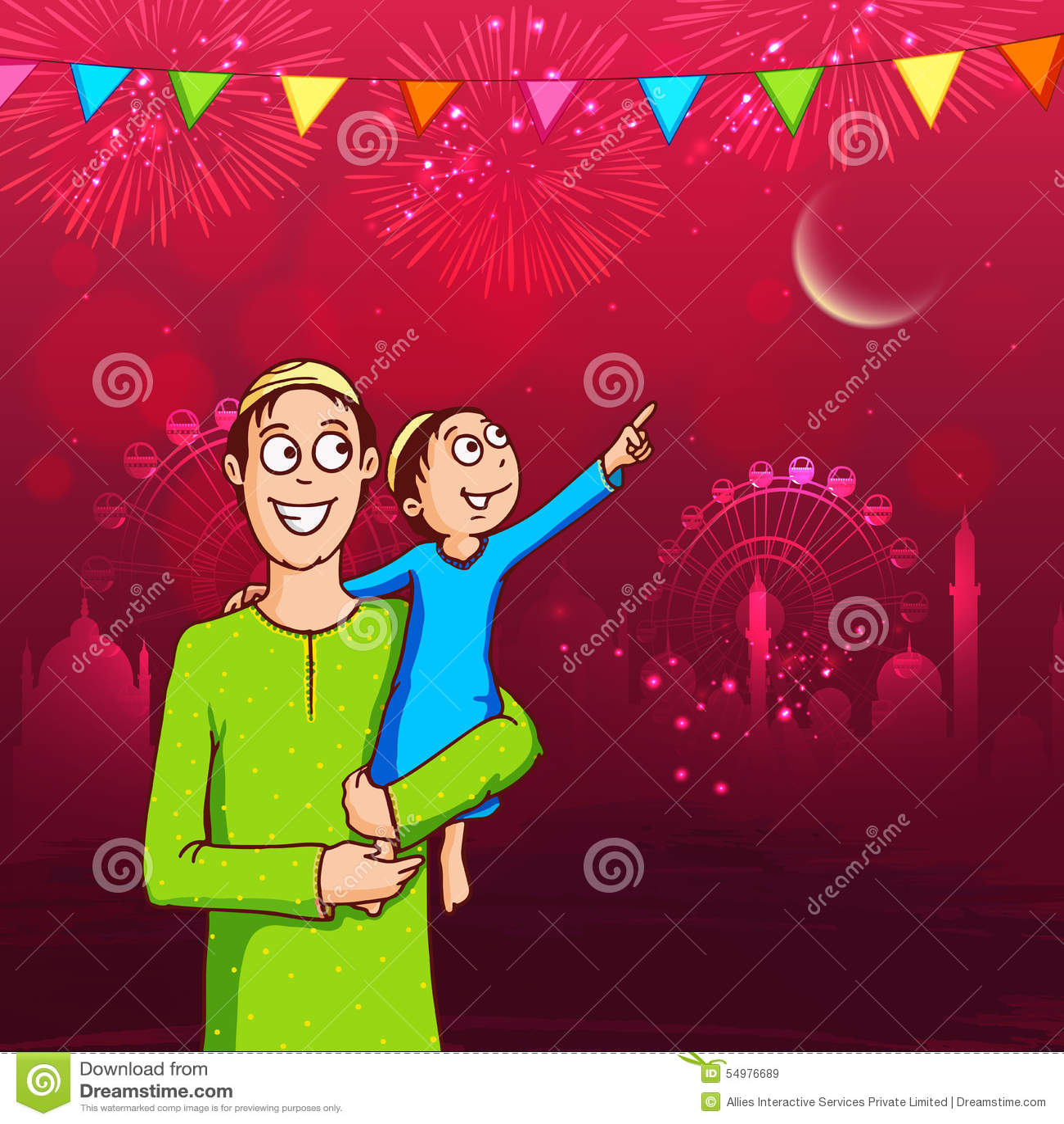 Lycklig man med hans unge för Eid Mubarak beröm