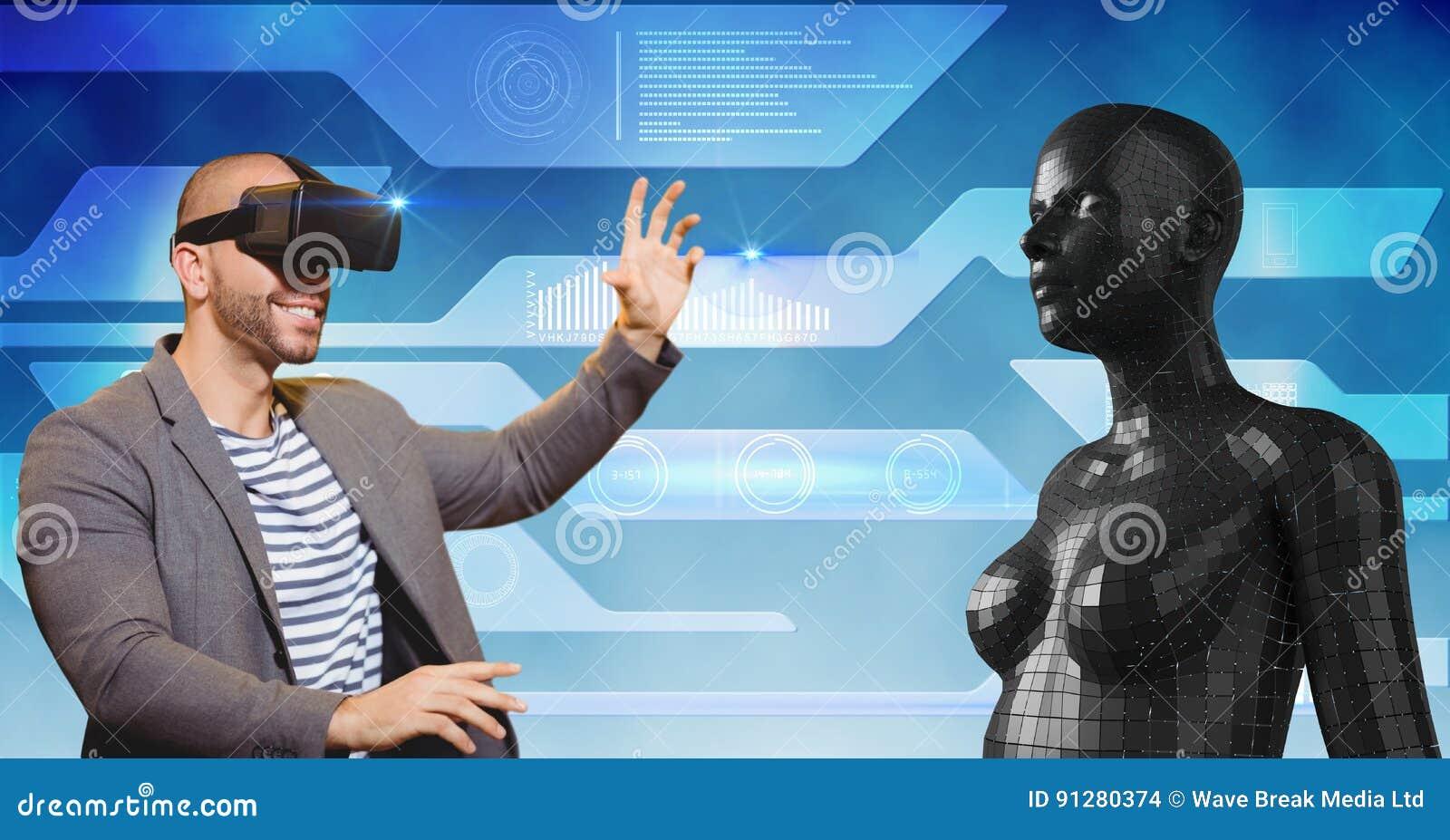 Lycklig man som ser det kvinnliga diagramet 3d till och med VR-exponeringsglas