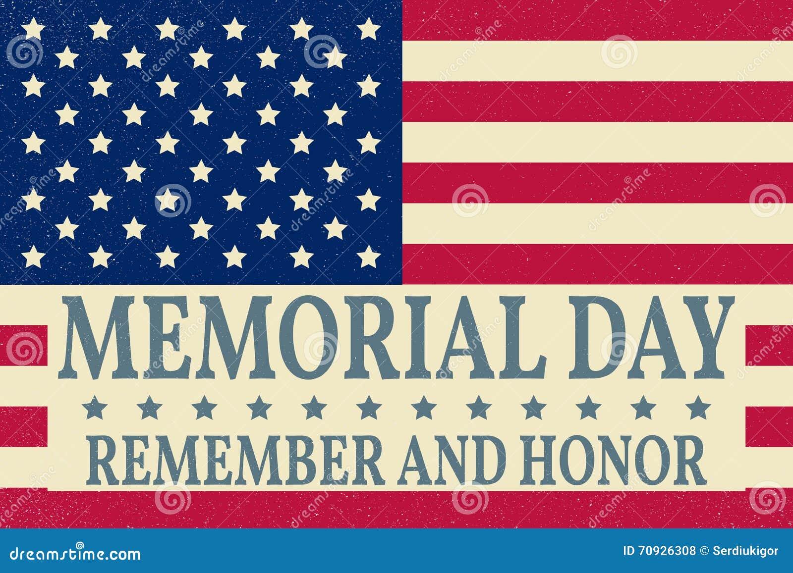 Lycklig Memorial Day bakgrundsmall Lycklig Memorial Day affisch Minns och hedra överst av amerikanska flaggan patriotiskt baner