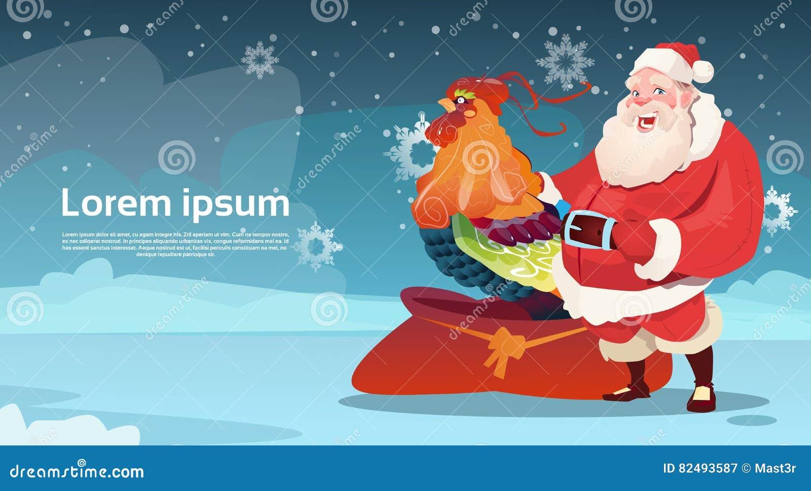 Lycklig ny 2017 år tupp med Santa Clause Asian Horoscope Symbol