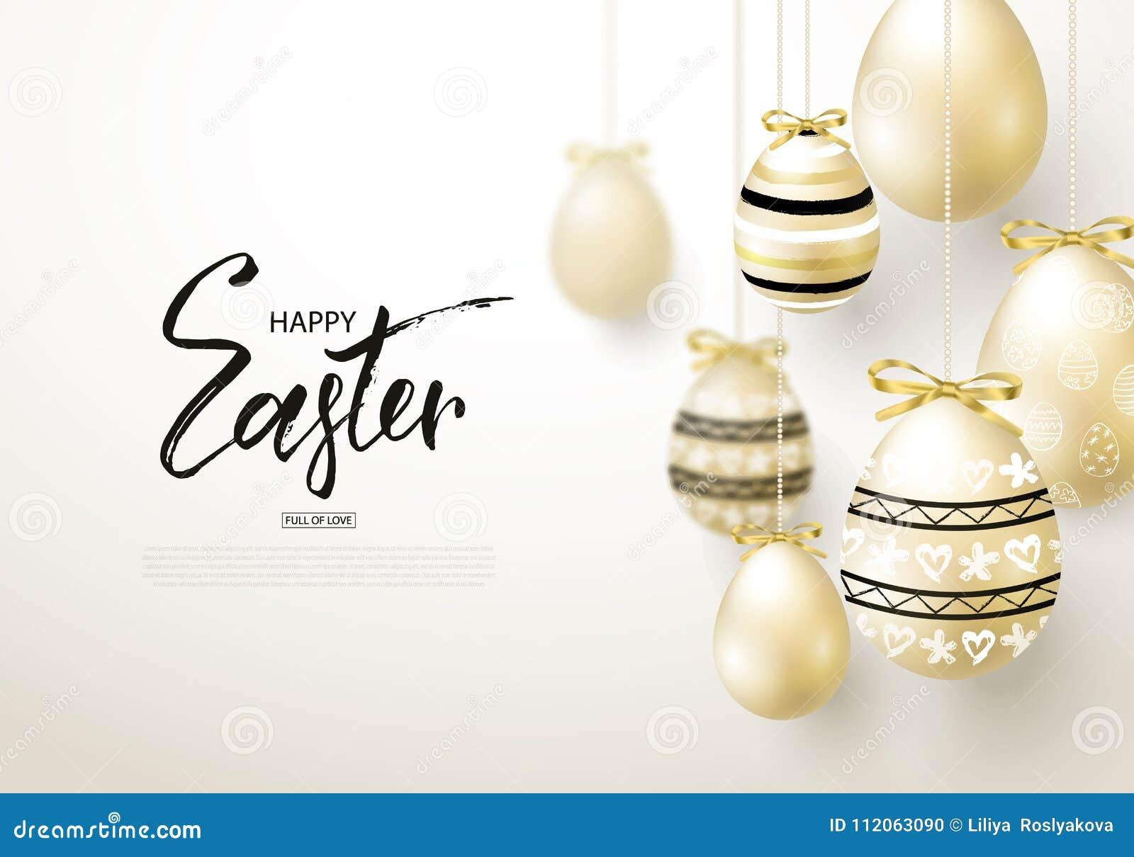 Lycklig påskbakgrund med realistiskt guld- sken dekorerade ägg Designorientering för inbjudan, hälsningkort, annons, befordran, l