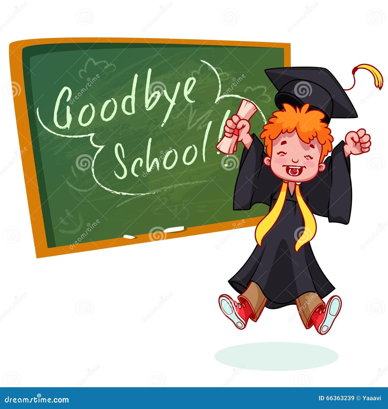 Lycklig pojke mycket Avlägga examen i kappa och med ett diplom i hand