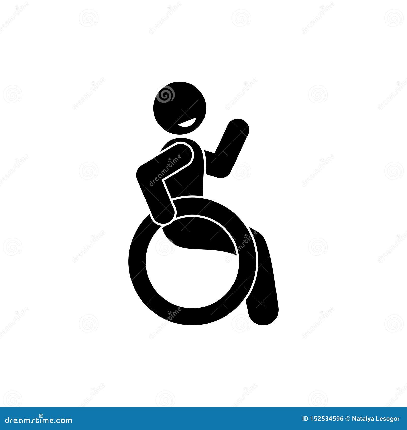 Lycklig rörelsehindrad symbol, pinnediagram man som sitter i en rullstol