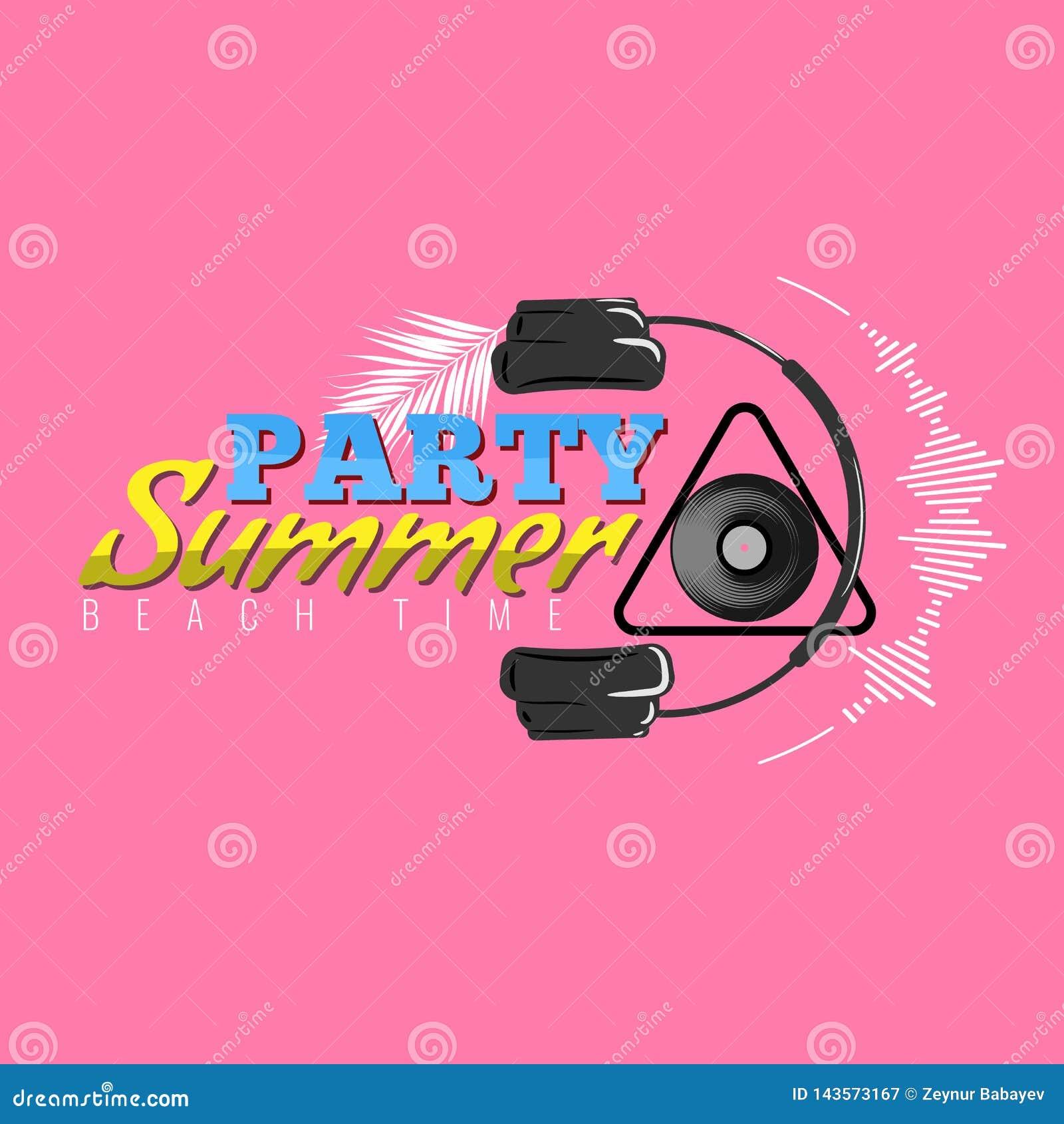 Lycklig sommarpartilogo med symbolen för headphone och för solid våg Dj-konsertaffisch också vektor för coreldrawillustration
