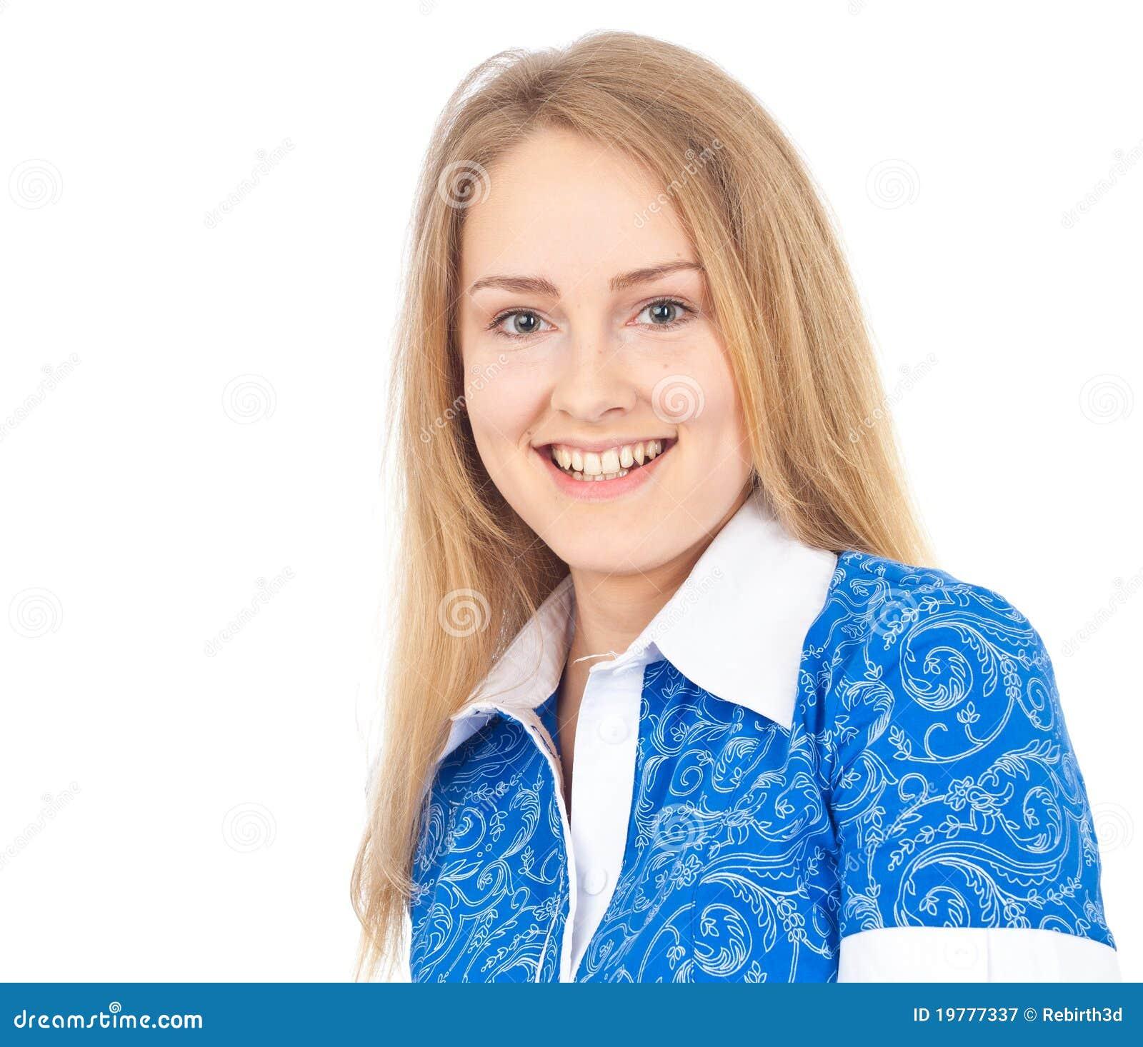 Lycklig ståendekvinna för affär