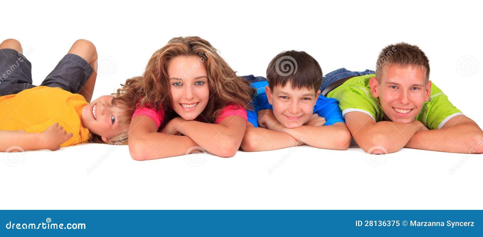 Lycklig syster och bröder