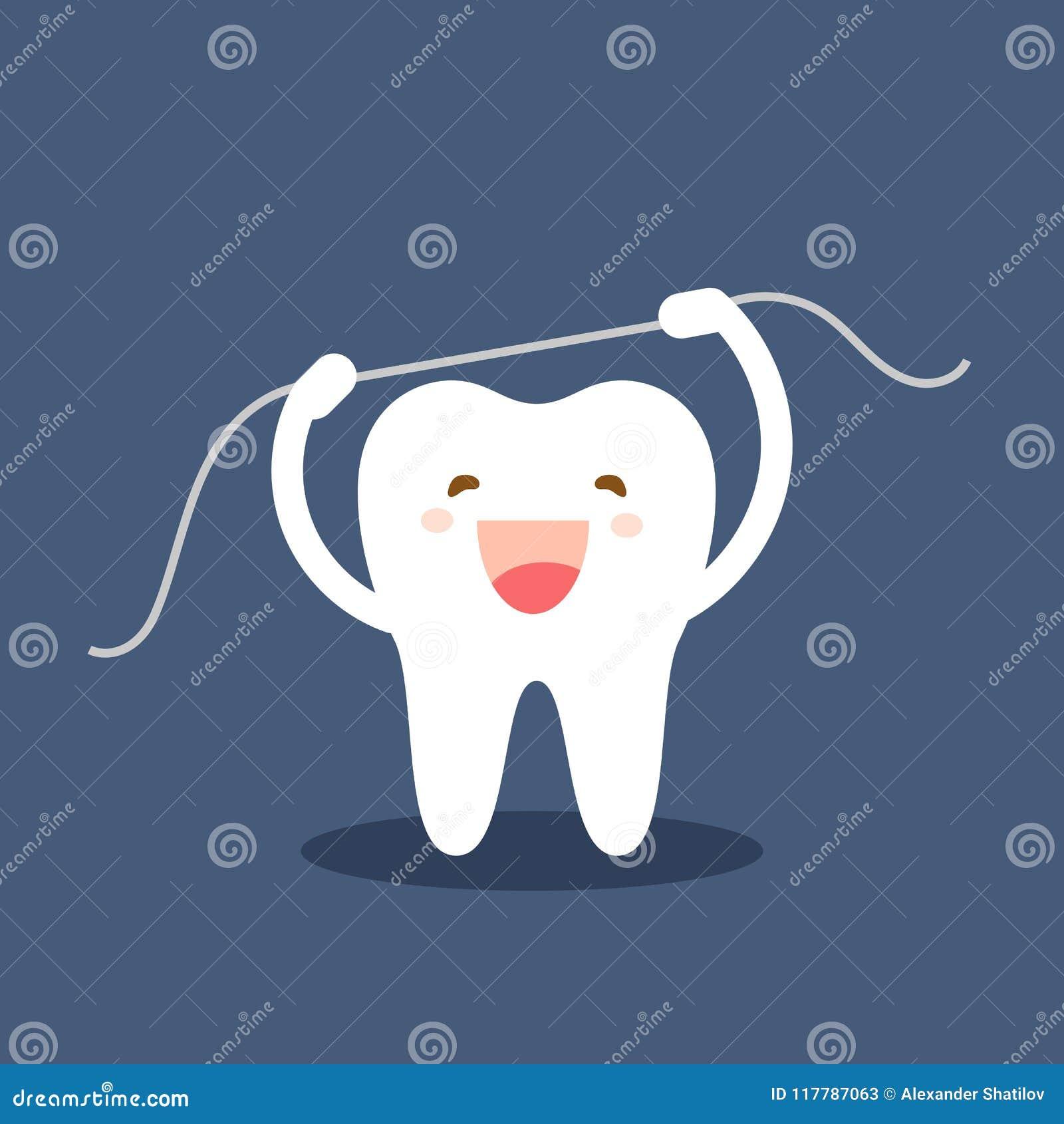 Lycklig tandsymbol Gulliga tandtecken Borsta flossing för tänder Tand- rollvektorillustration Muntlig hygien