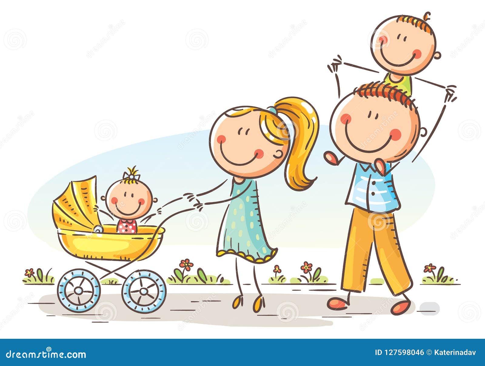 Lycklig tecknad filmfamilj med två barn som utomhus går