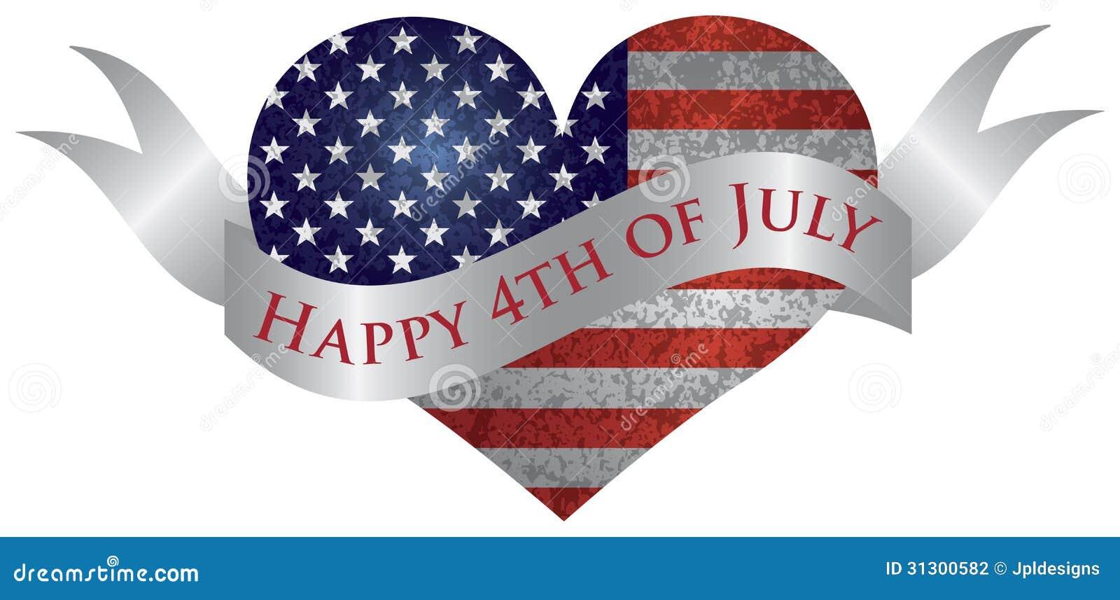 Lycklig 4th av Juli hjärta med snirkeln