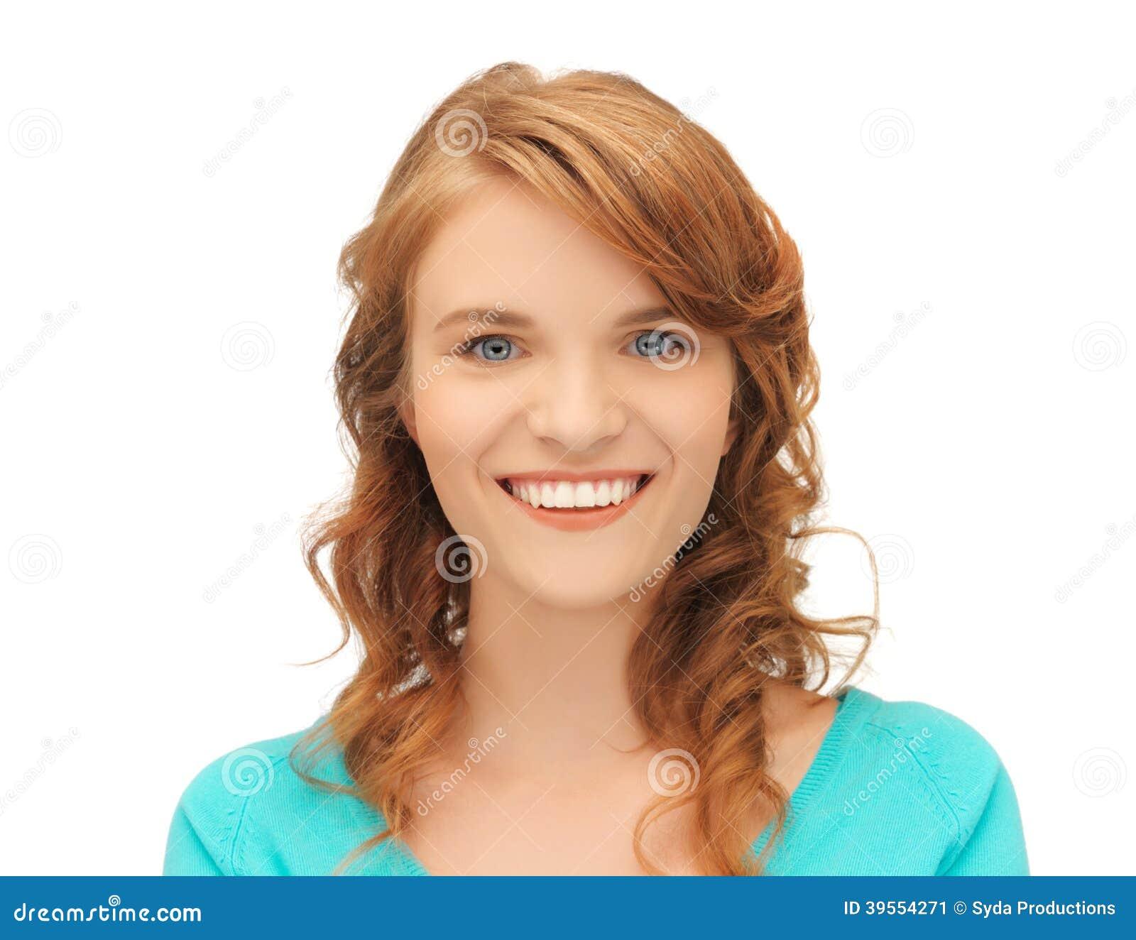Lycklig tonårs- flicka