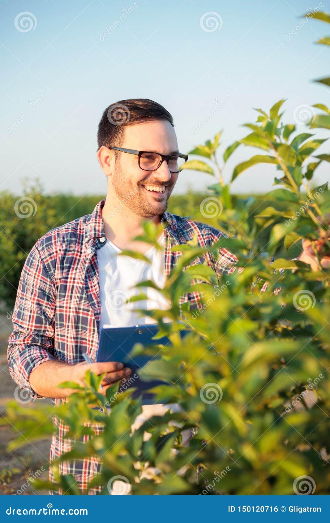 Lycklig ung manlig agronom eller bonde som kontrollerar unga träd i en fruktfruktträdgård